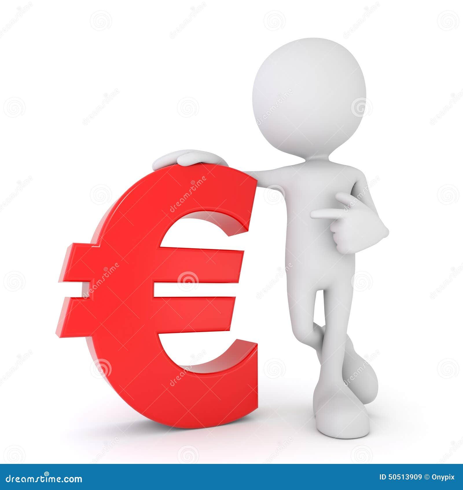 0c61930b6 3d odpłacają się ilustrację biała 3d istota ludzka wskazuje przy czerwonym  euro symbolem