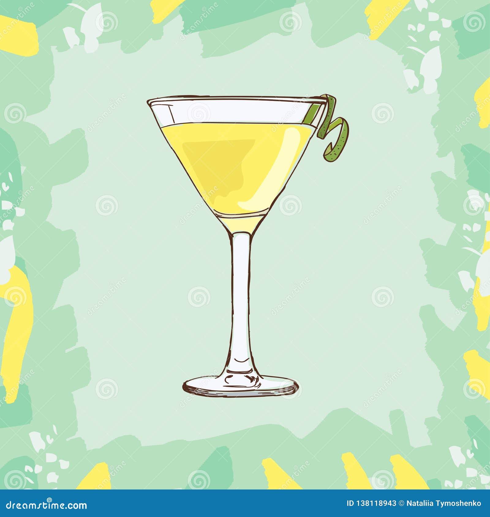 Biała dama koktajlu ilustracja Alkoholiczna ręka rysujący klasyka baru napoju wektor Wystrzał sztuka