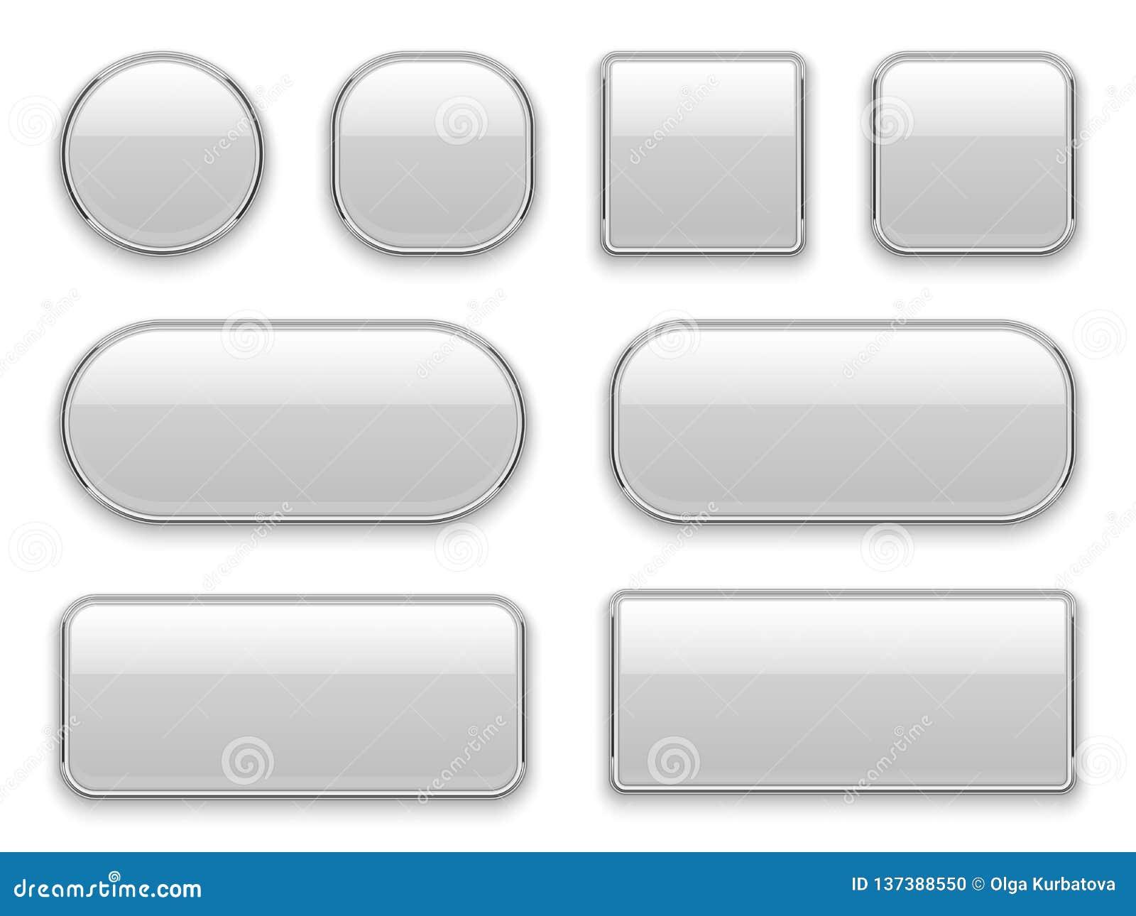 Biała guzika chromu rama 3d sieci elementów prostokąta kwadrata okręgu realistycznego szklanego owalnego chromu guzika biały inte