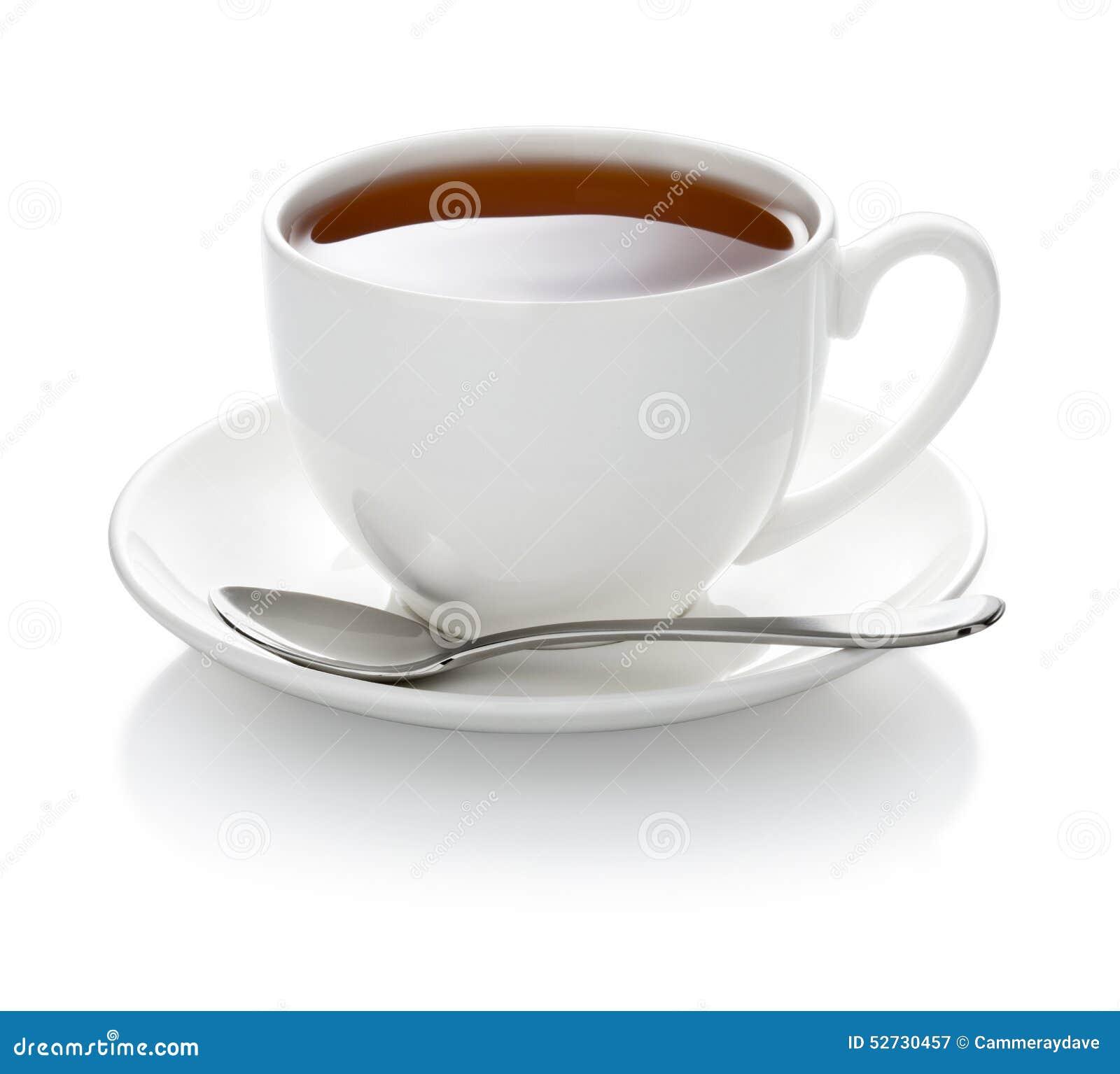 Biała herbaciana filiżanka odizolowywająca