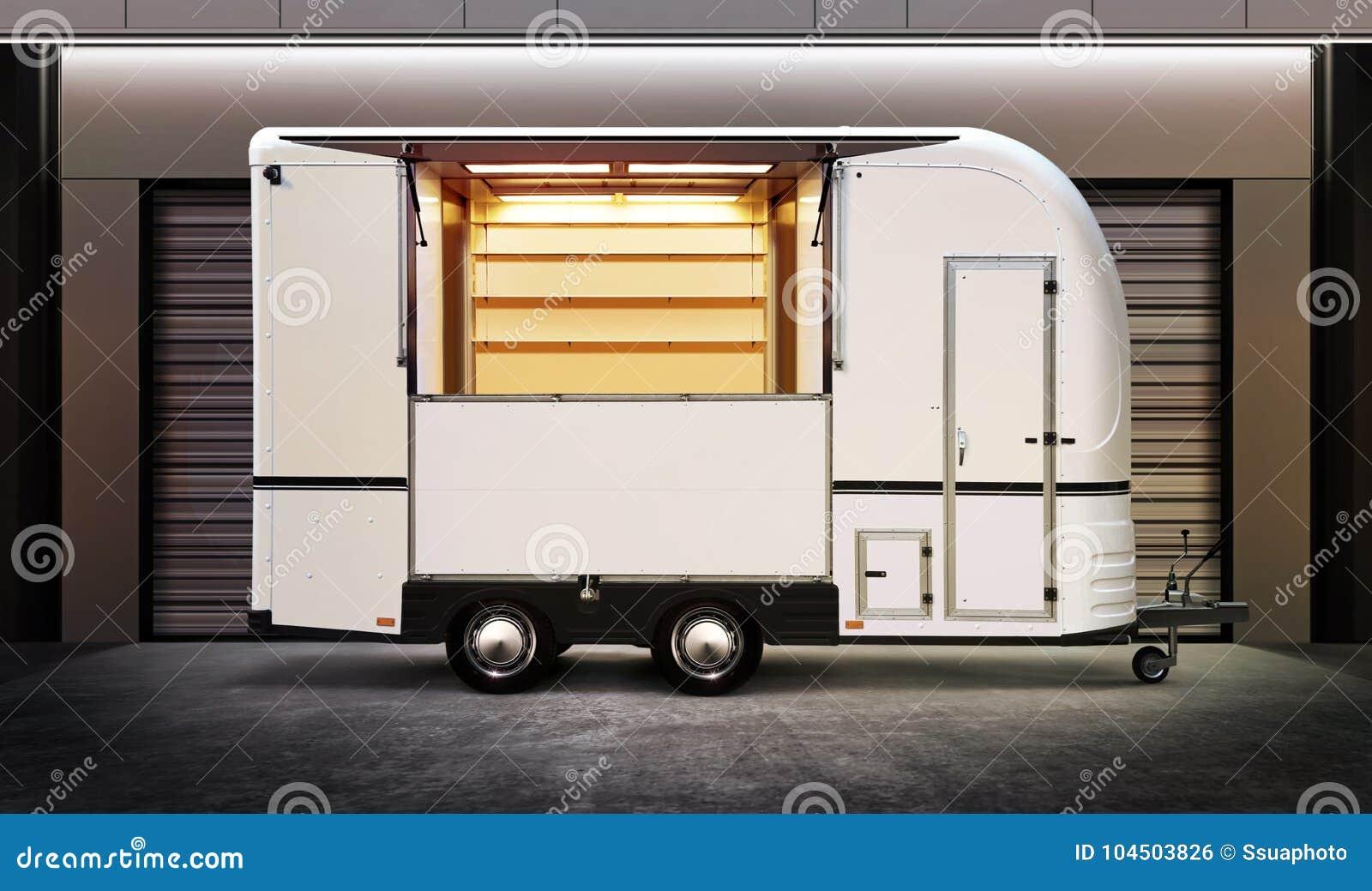Biała jedzenie ciężarówka
