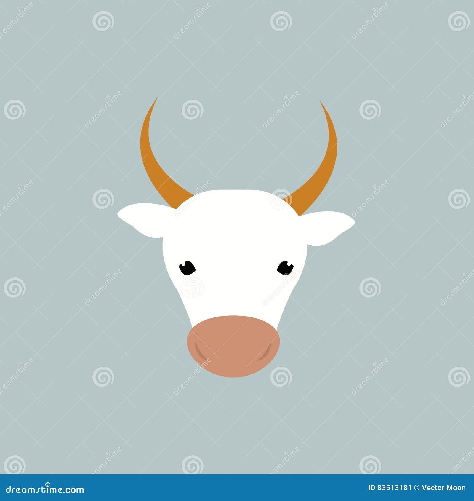 Biała krowy głowy wektoru ilustracja