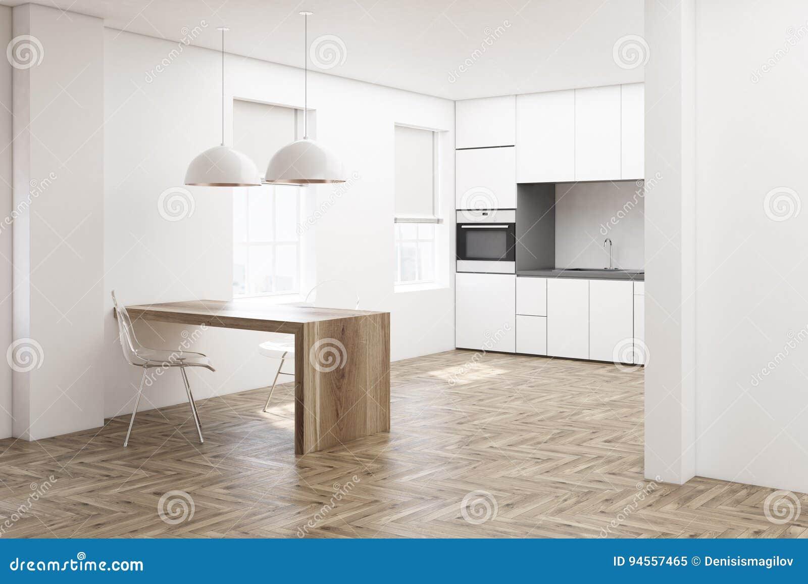 Biała Kuchnia Drewniana Podłoga Strona Ilustracji