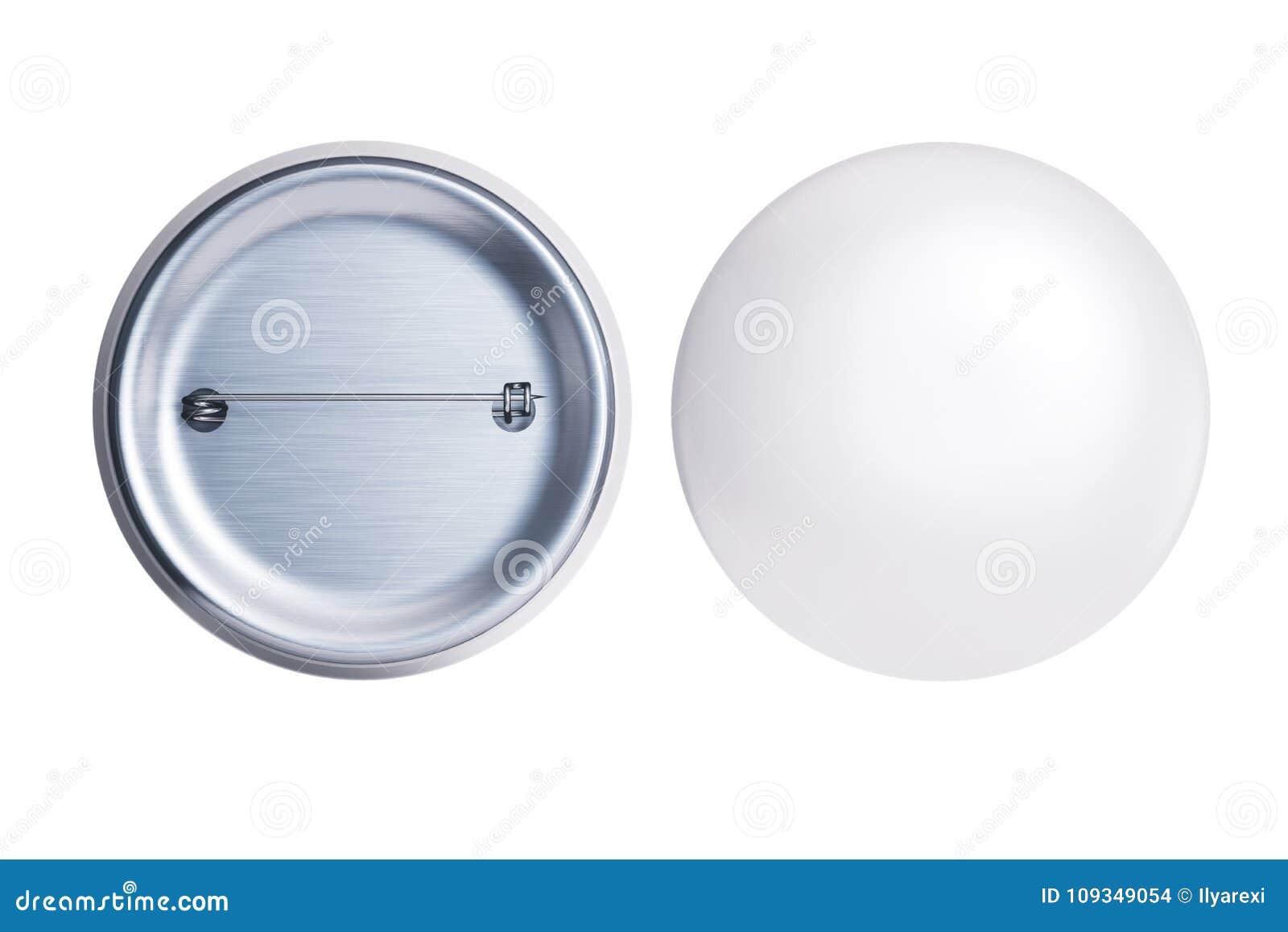 Biała odznaki szpilki broszka frontowa i tylna strona odizolowywająca na białym mocy