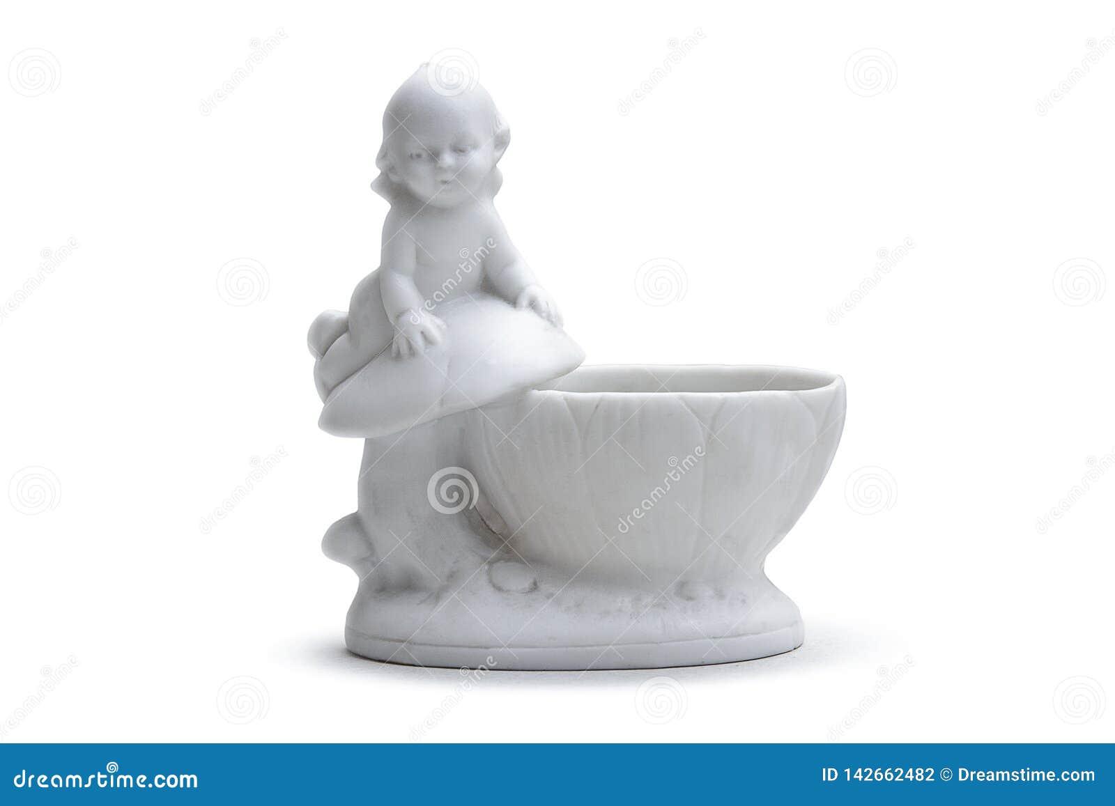 Biała porcelany waza z chłopiec troszkę