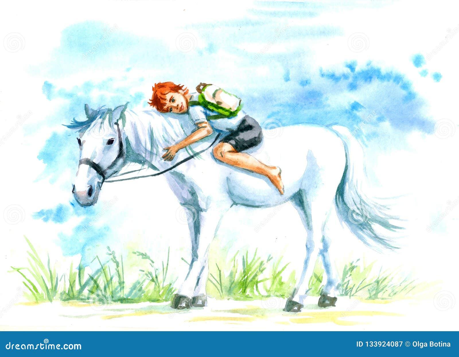 Białego konia i chłopiec akwarela