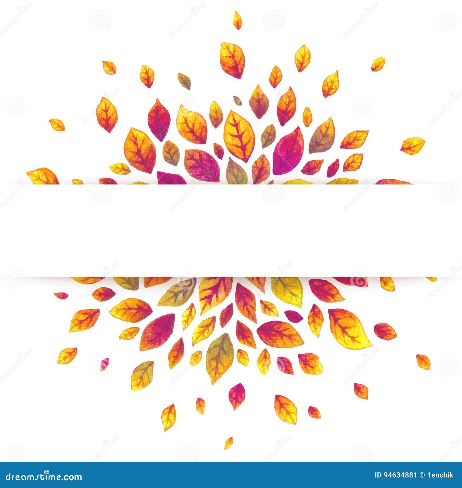 Białego papieru lampasa sztandar na czerwonym jesień liści tle