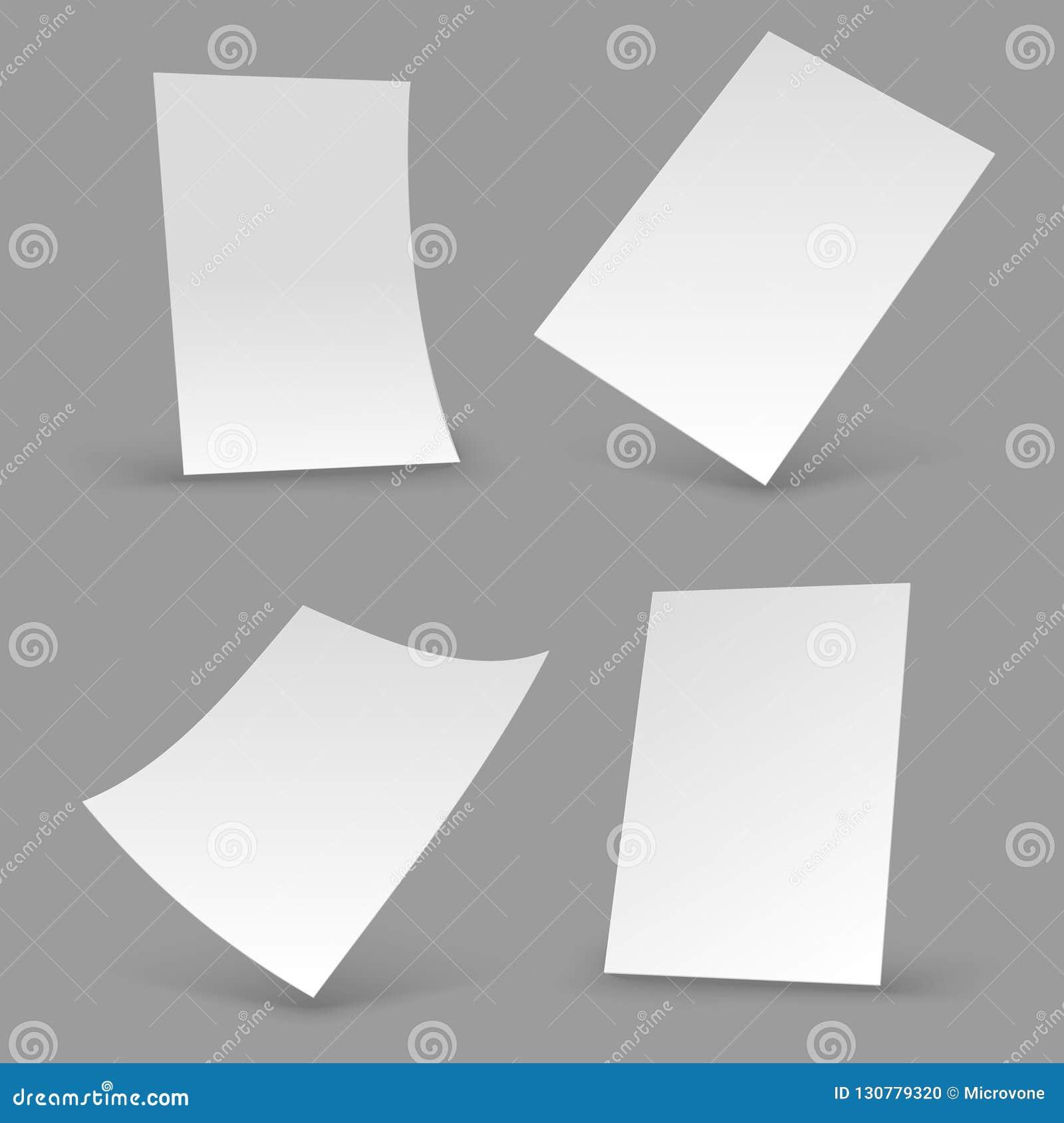 Białego papieru prześcieradła A4 pusta broszurka, realistyczni plakatowi mockups 3d ulotki wektoru szablony
