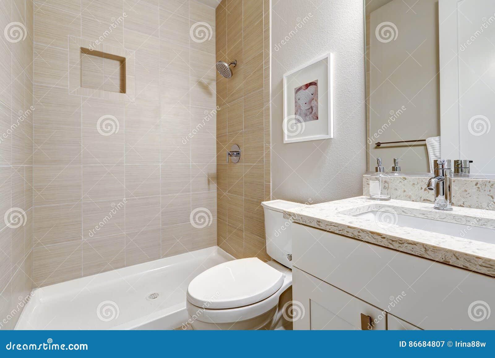 Białej I Czystej łazienki Wewnętrzny Projekt Obraz Stock