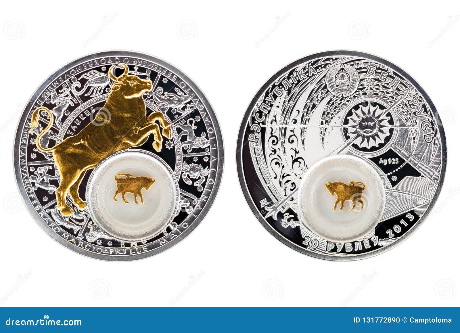 Białoruś srebnej monety astrologii 2013 Taurus