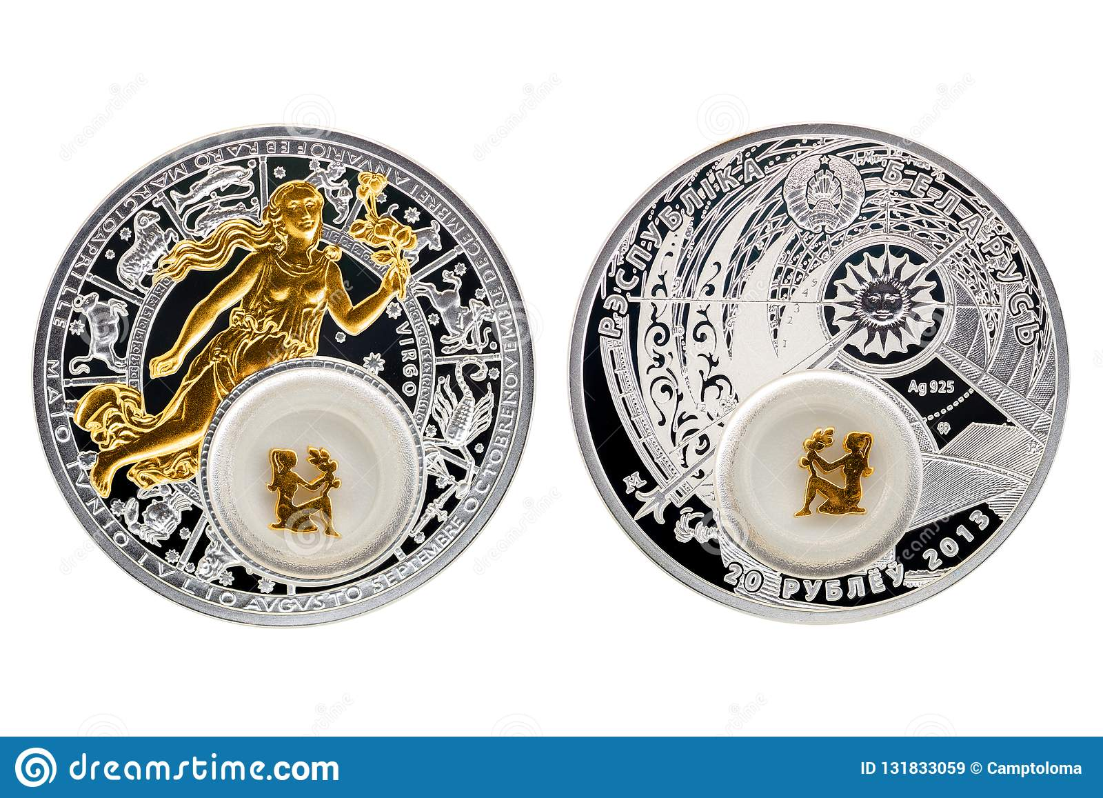 Białoruś srebnej monety astrologii Virgo