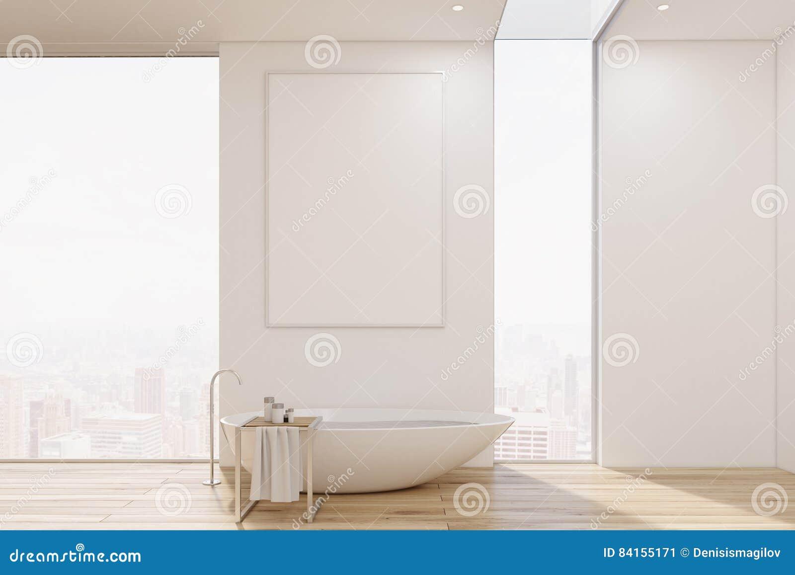 Biały łazienki Wnętrze Z Wanną Oryginalny Kształt I