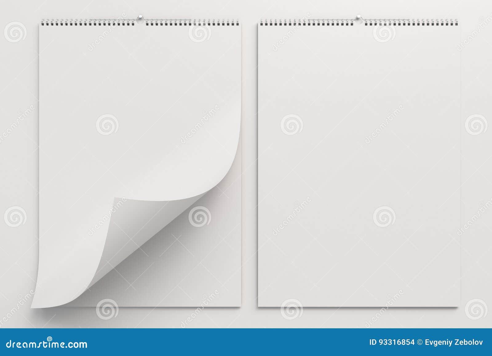 Biały ściennego kalendarza egzamin próbny na białym tle