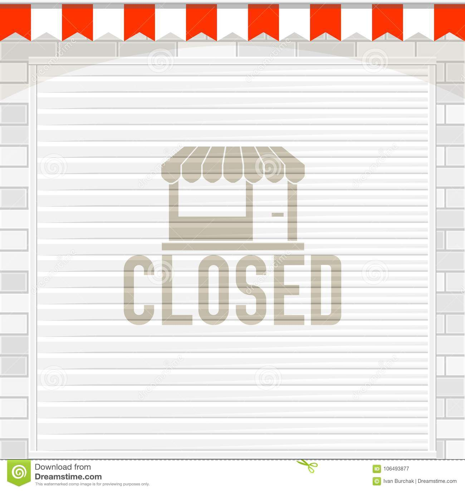 Biały żaluzi drzwi lub rolownika drzwi z Zamkniętym znakiem