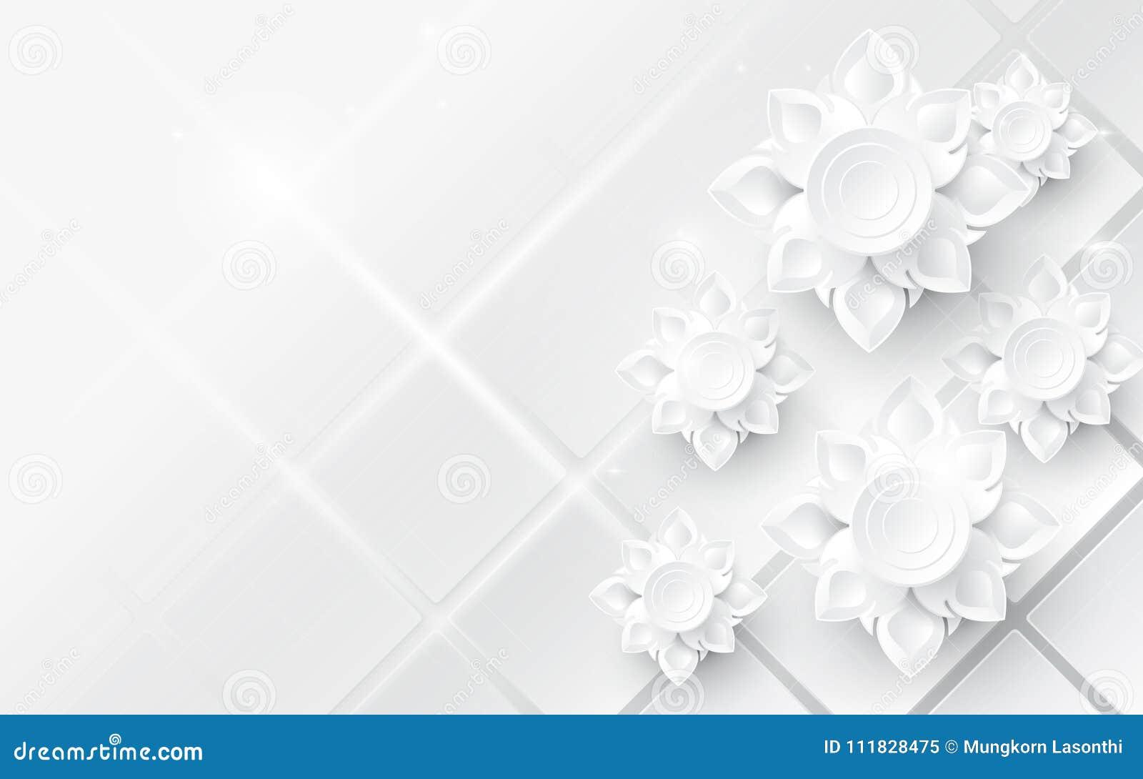 Biały abstrakcjonistyczny kwiatu azjata wzoru tło