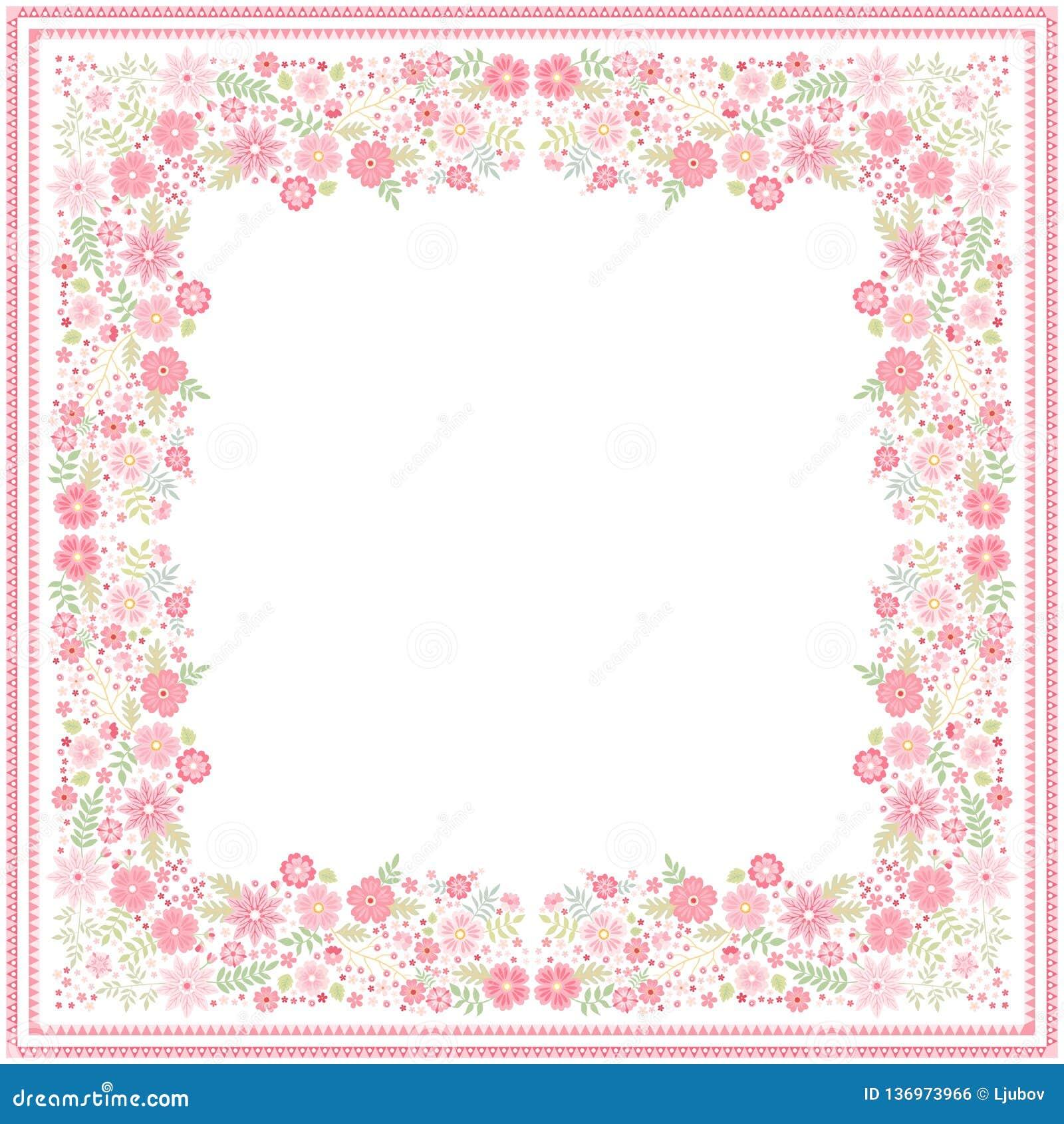 Biały bandana druk z piękną kwiecistą granicą z lekkimi czerwień kwiatami, zielenią i opuszcza w wektorze Kwadratowa karta