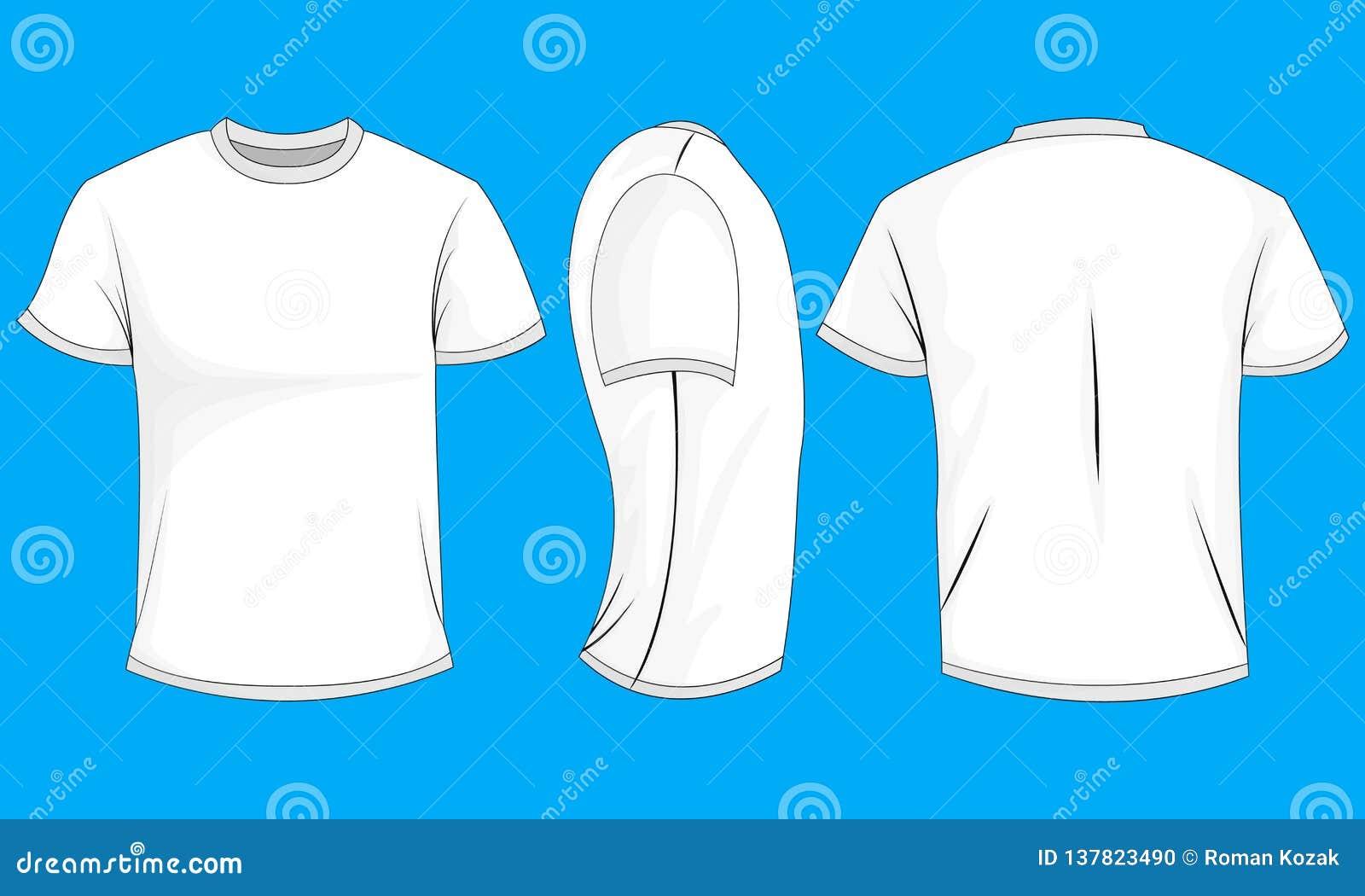 Biały człowiek koszulka z krótkimi rękawami Przód, plecy, boczny widok, (0)