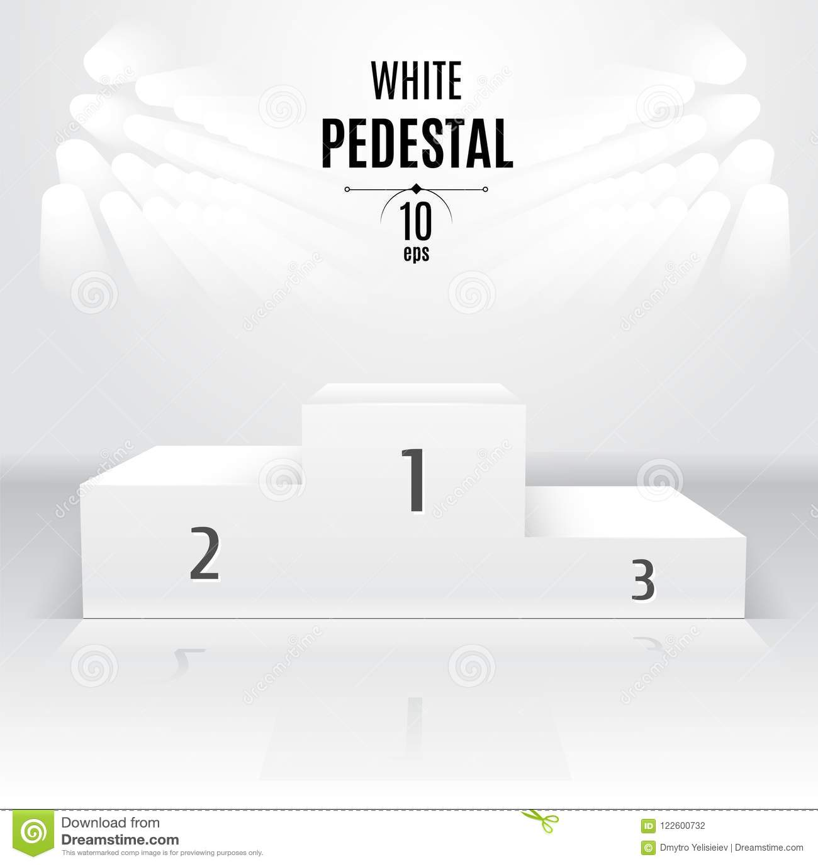 Biały 3D-pedestal szablon Powystawowy miejsce Wyznaczający po t