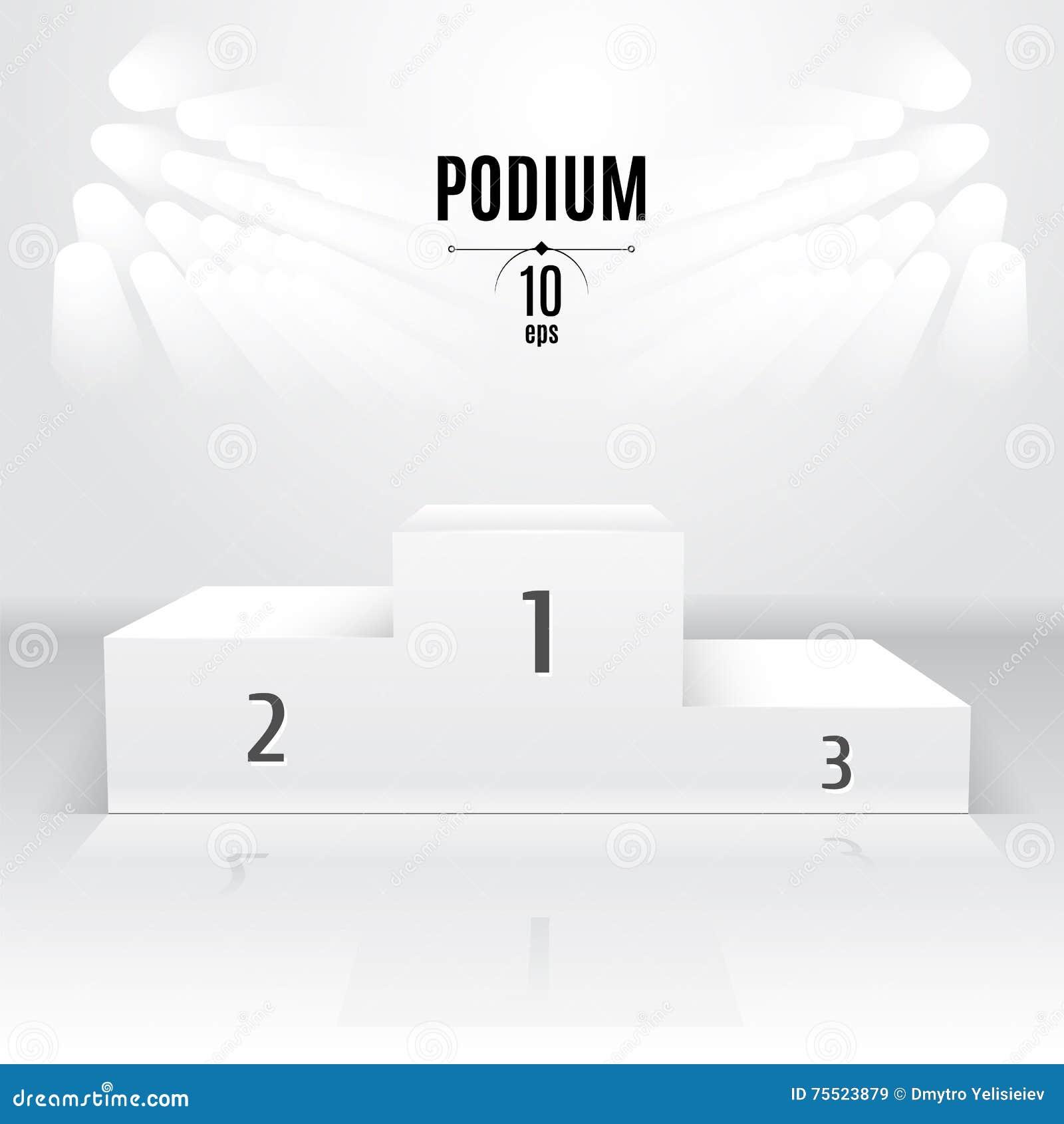 Biały 3D-podium szablon Powystawowy miejsce Wyznaczający po