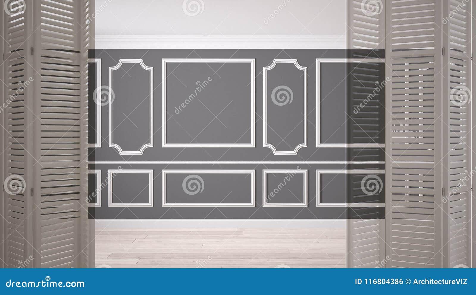 Biały falcowania drzwi otwarcie na klasyk pustej przestrzeni z sztukateryjnymi bagietami i parkietową podłoga, rocznika wewnętrzn