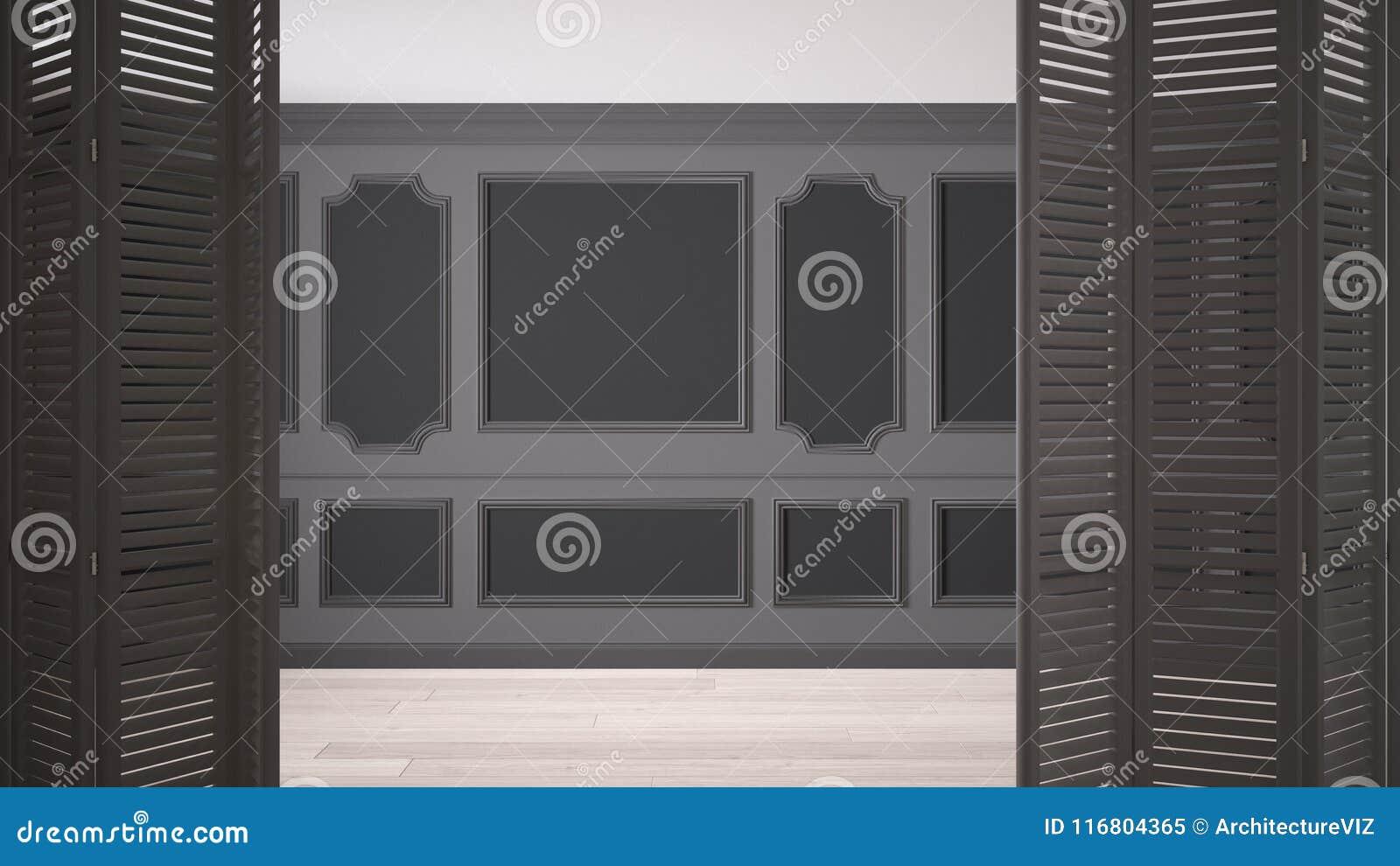 Biały falcowania drzwi otwarcie na klasyk pustej przestrzeni z sztukateryjnymi bagietami i parkietową podłoga, rocznika wnętrze