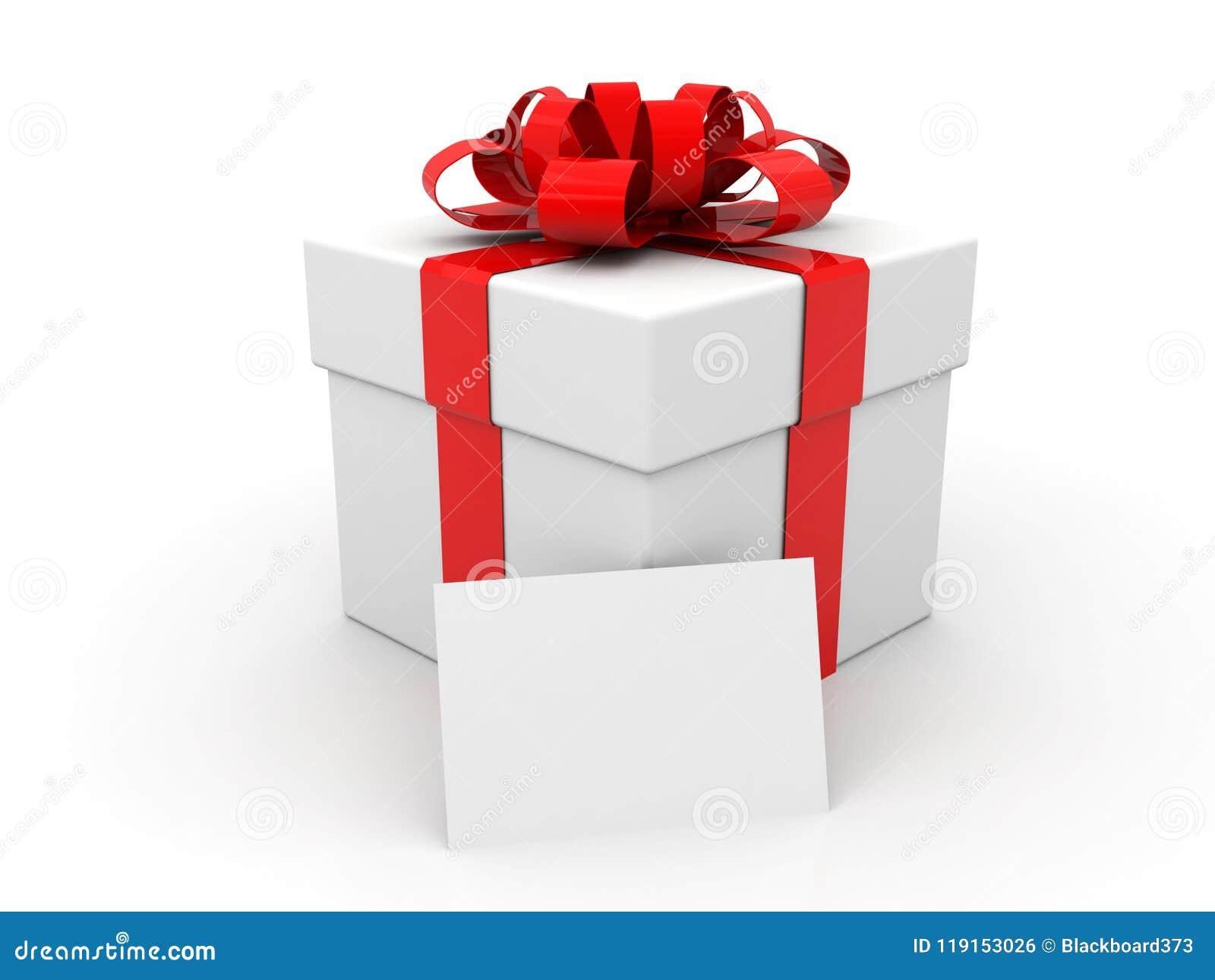 Biały karton z czerwonym faborkiem i łękiem dar pole białe tło