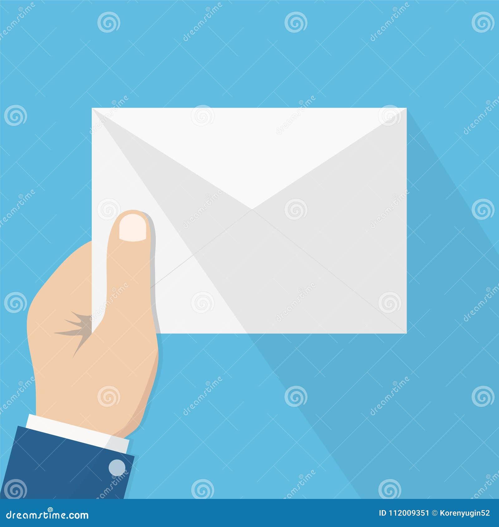 Biały koperta list z cieniem w mężczyzna ręce, pojęcie incomi
