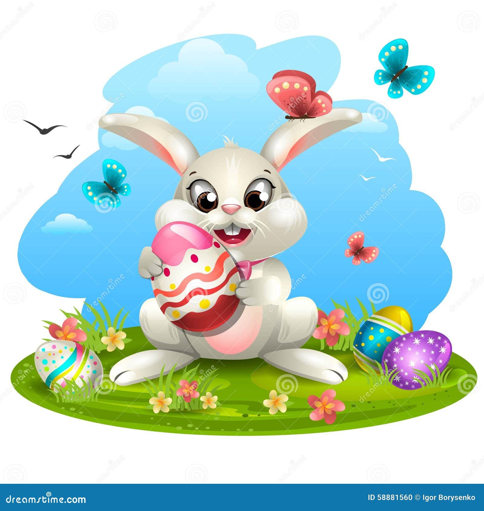 Biały królik z jajkami