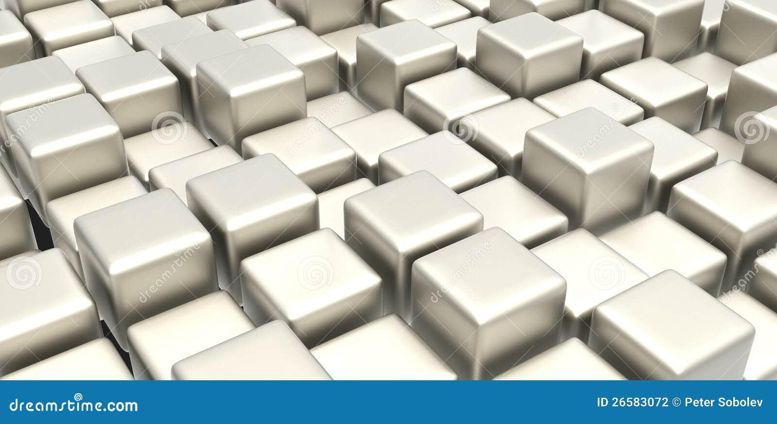Biały metalu sześciany