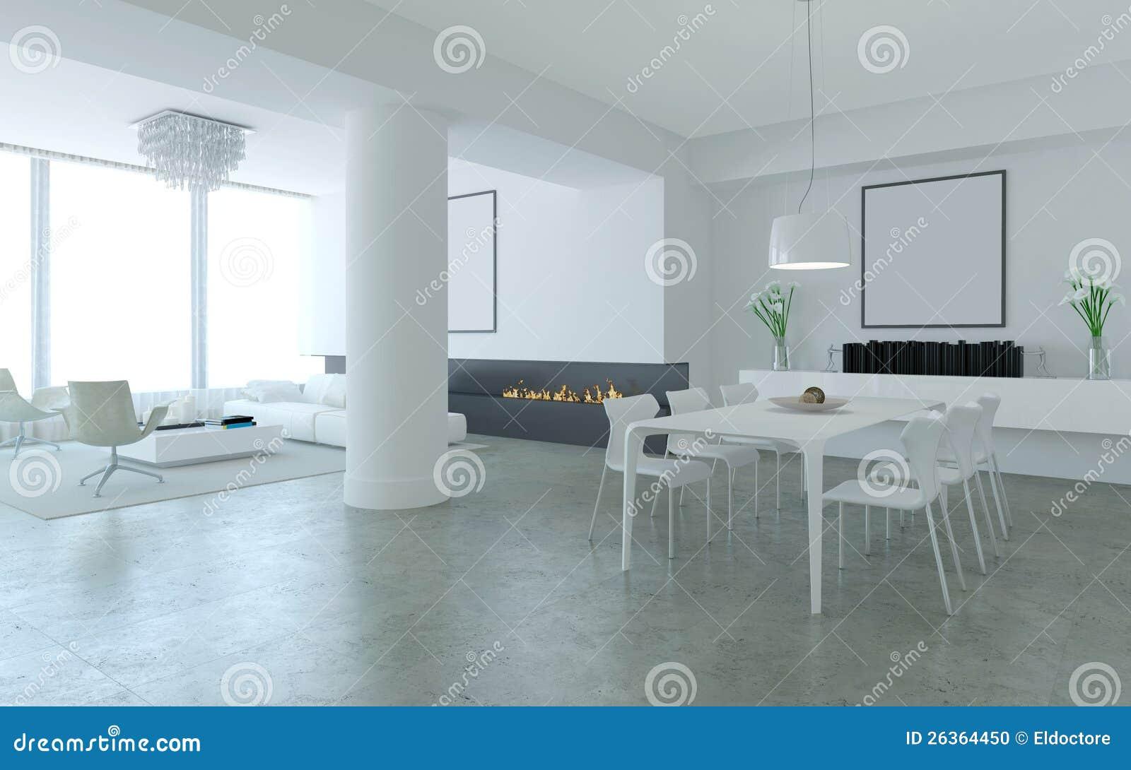 Biały minimalistyczna jadalnia utrzymanie i