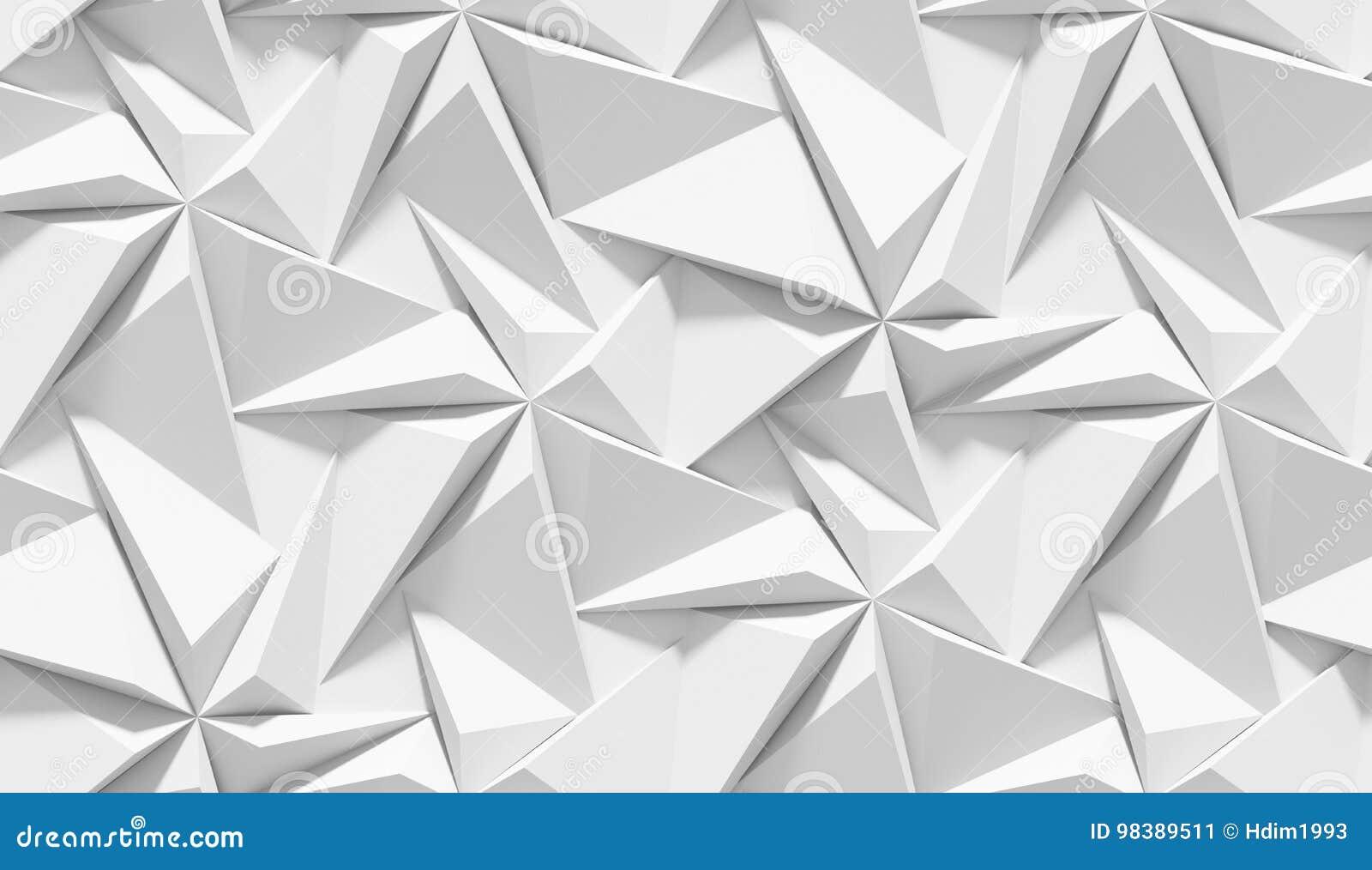 Biały ocieniony abstrakcjonistyczny geometryczny wzór Origami papieru styl 3D renderingu tło