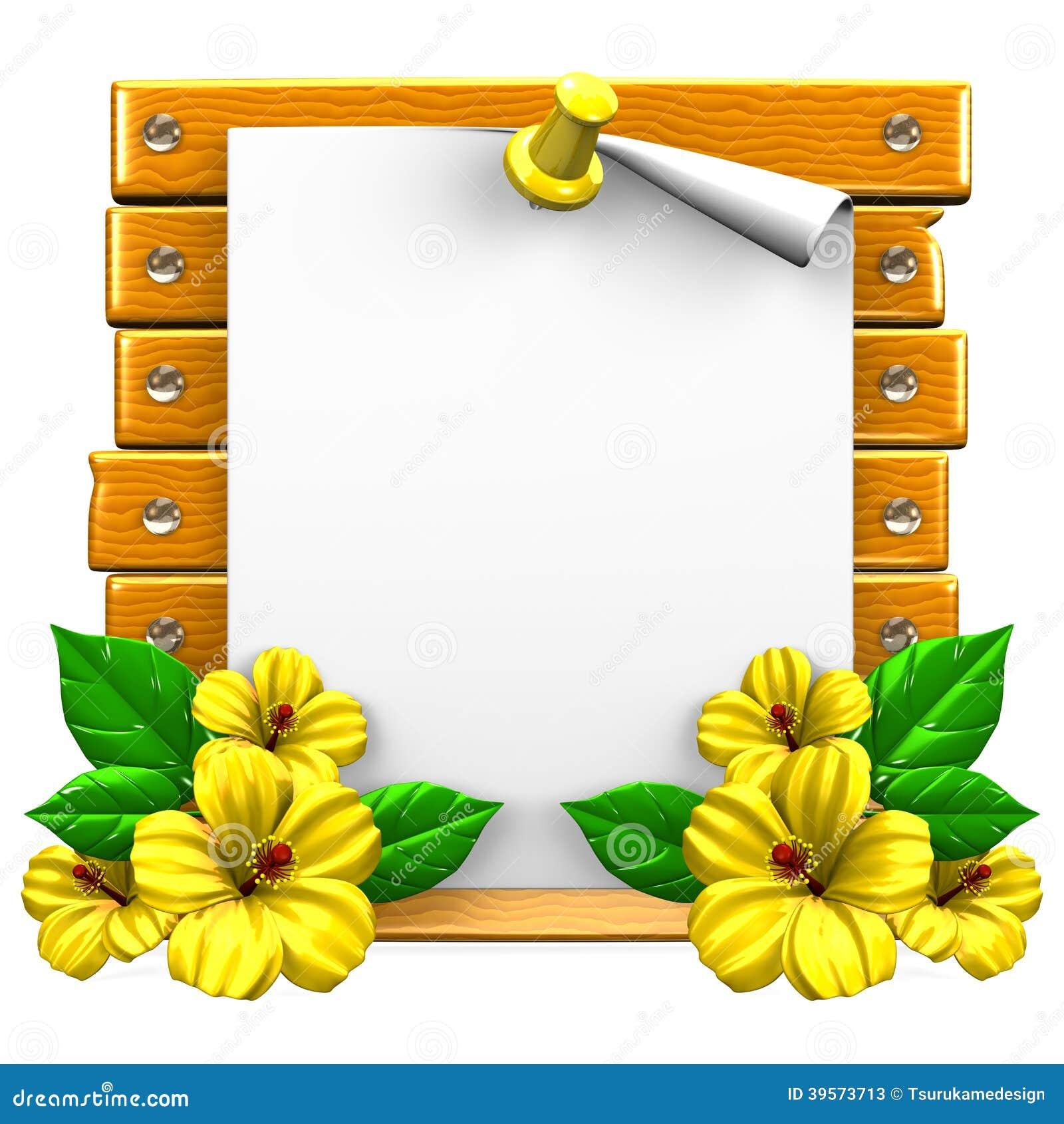Biały papier Na Drewnianej desce Z Żółtymi poślubnikami