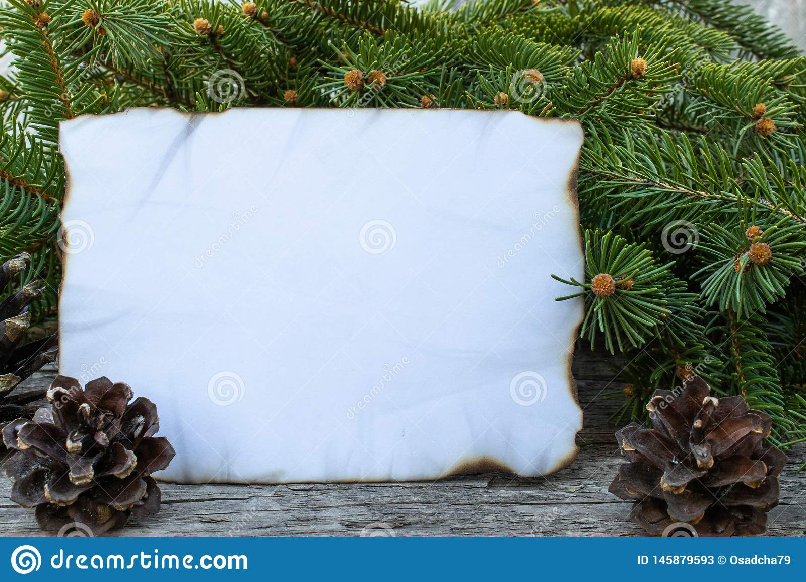 Biały prześcieradło papier palił wzdłuż zieleni gałąź choinka na tle i krawędzi stare, drewniane deski,