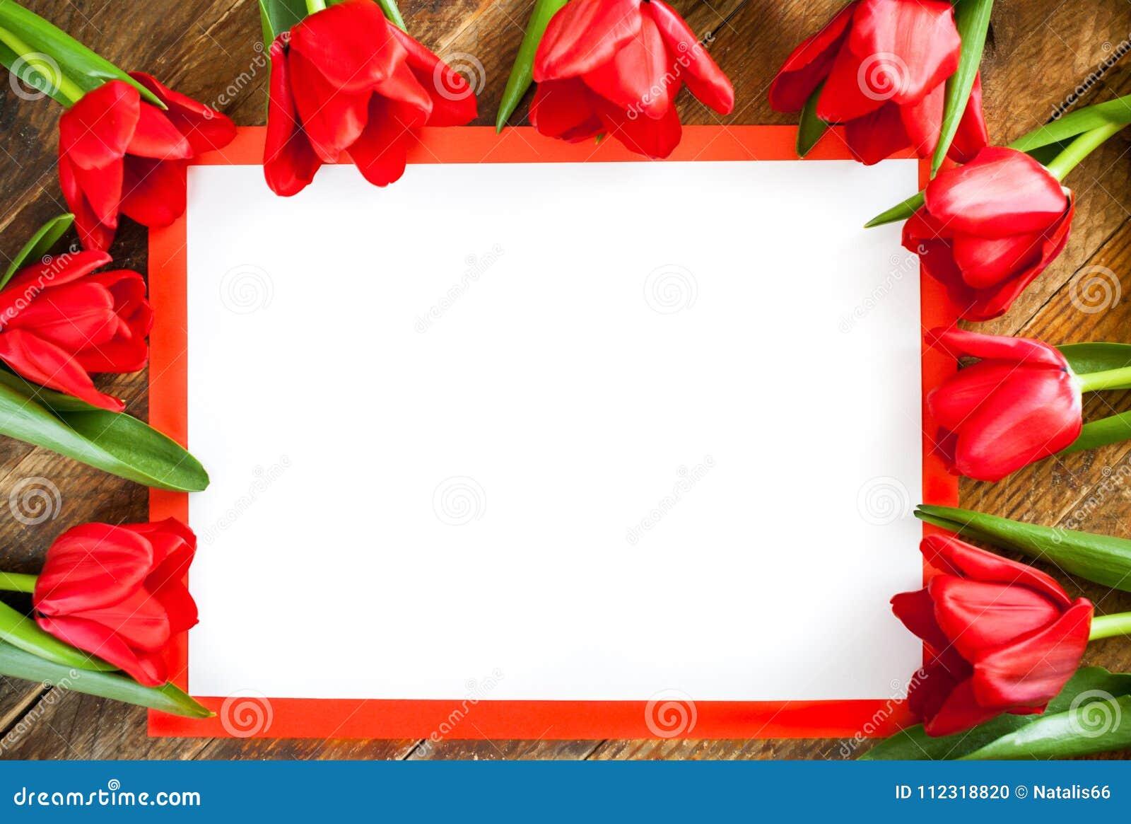 Biały pusty prześcieradło w czerwieni ramie z kopia astronautycznymi i czerwonymi tulipanami ar