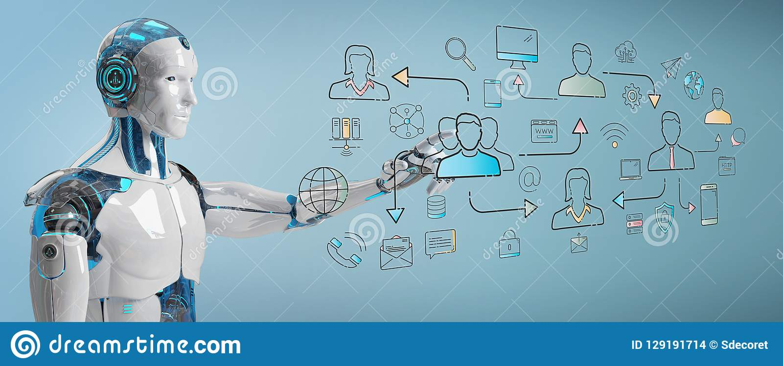 Biały robot kontroluje ogólnospołecznego sieci ikon interfejs