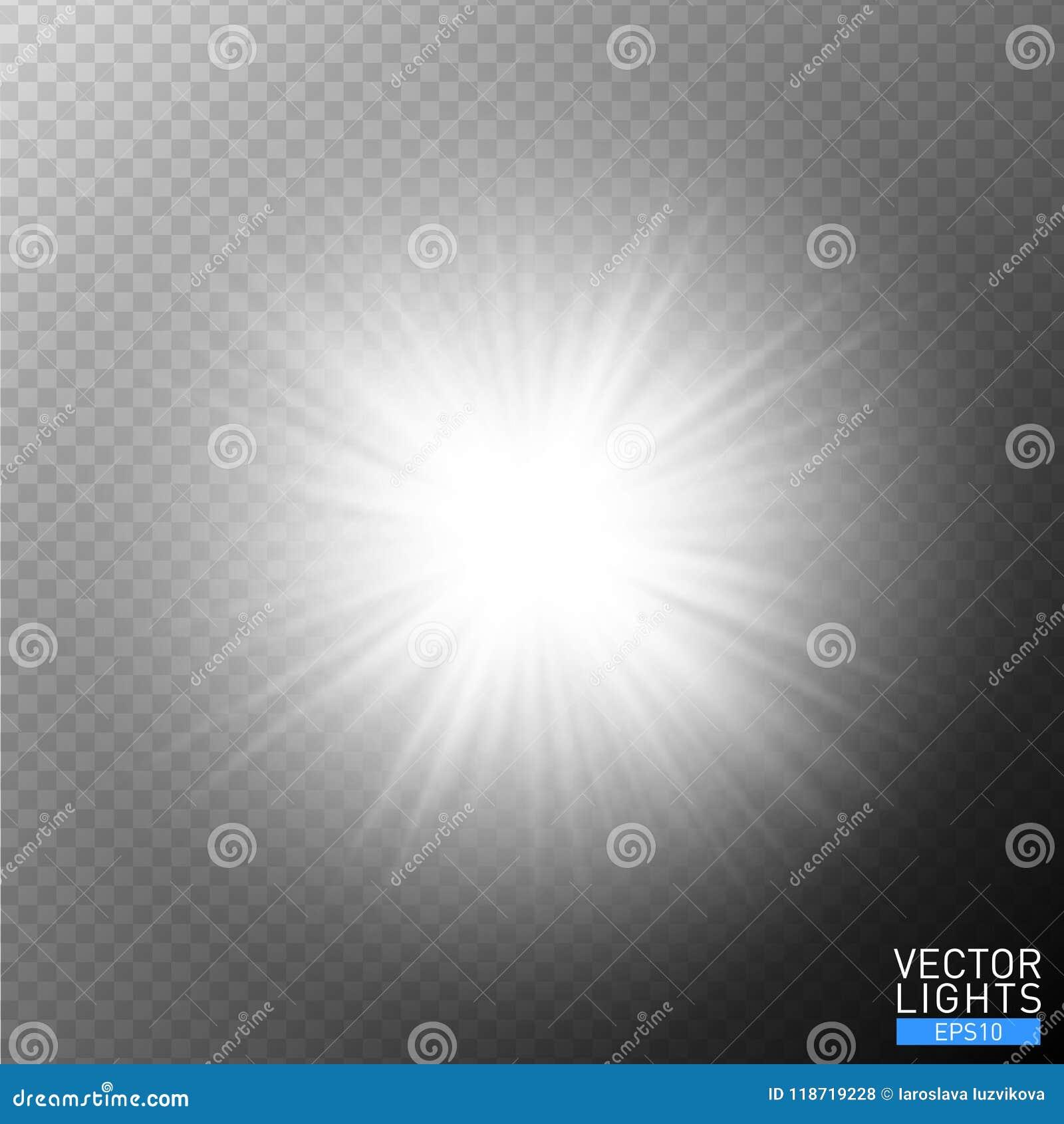 Biały rozjarzony lekki wybuchu wybuch na przejrzystym tle Wektorowa ilustracyjna lekkiego skutka dekoracja z promieniami najjaśni