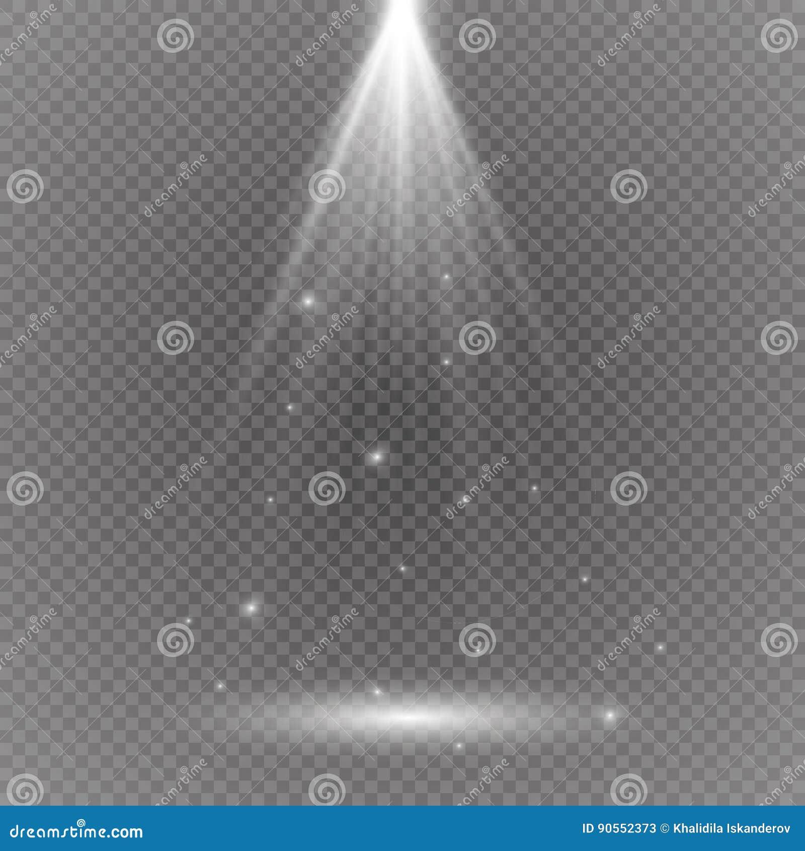 Biały rozjarzony lekki wybuchu wybuch z przejrzystym Wektorowa ilustracja dla chłodno skutek dekoraci z promieniem błyska Jaskraw