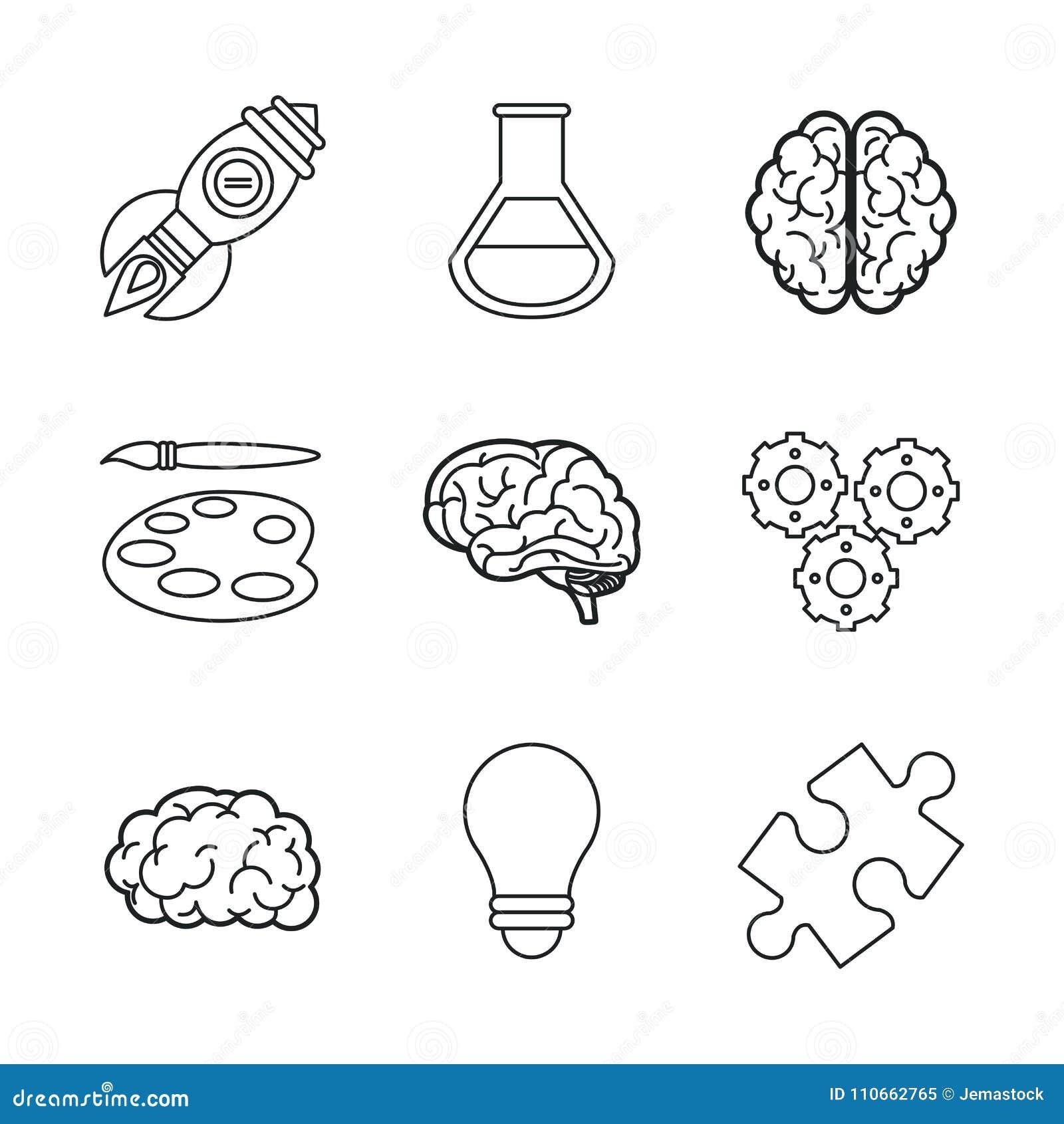 Biały tło z czarnymi sylwetek ikonami móżdżkowi lub kreatywnie umysły