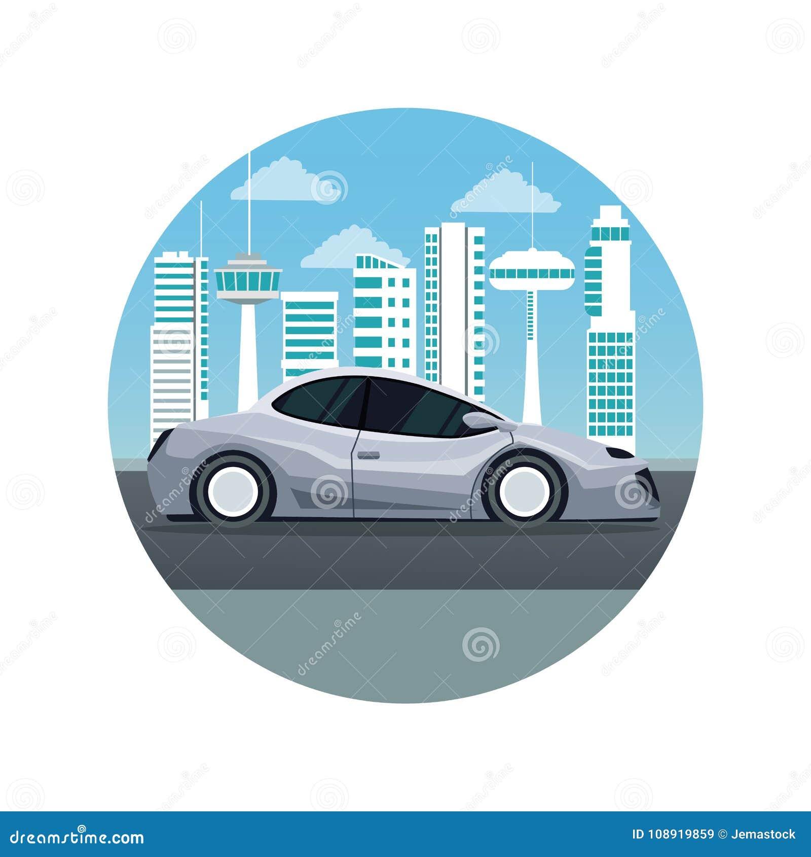 Biały tło z kurendy ramy miasta krajobrazu futurystyczną sylwetką z kolorowym nowożytnym szarym samochodowym pojazdem