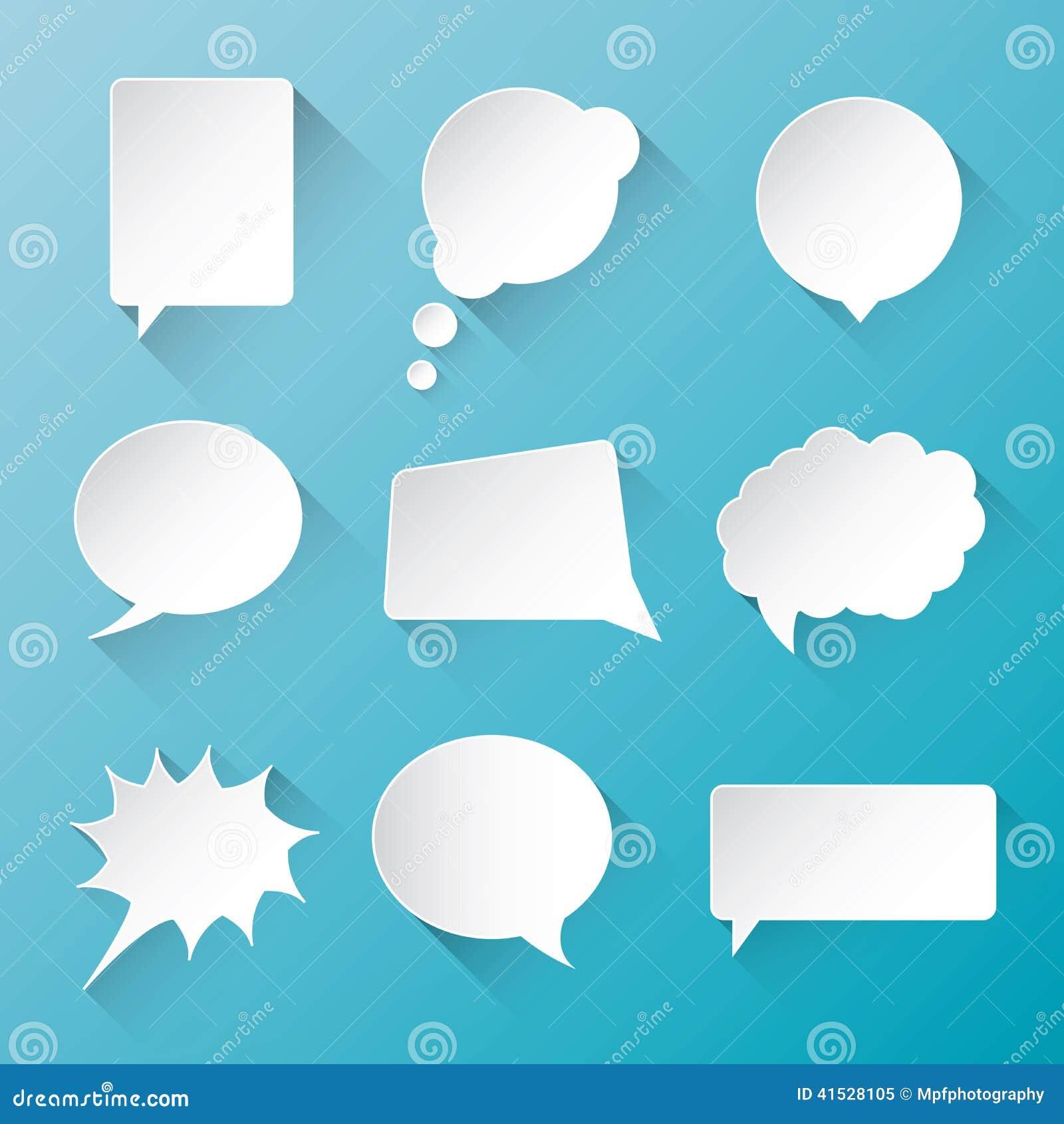 Biały wektorowy komunikacyjny mowa bąbel chmurnieje wi