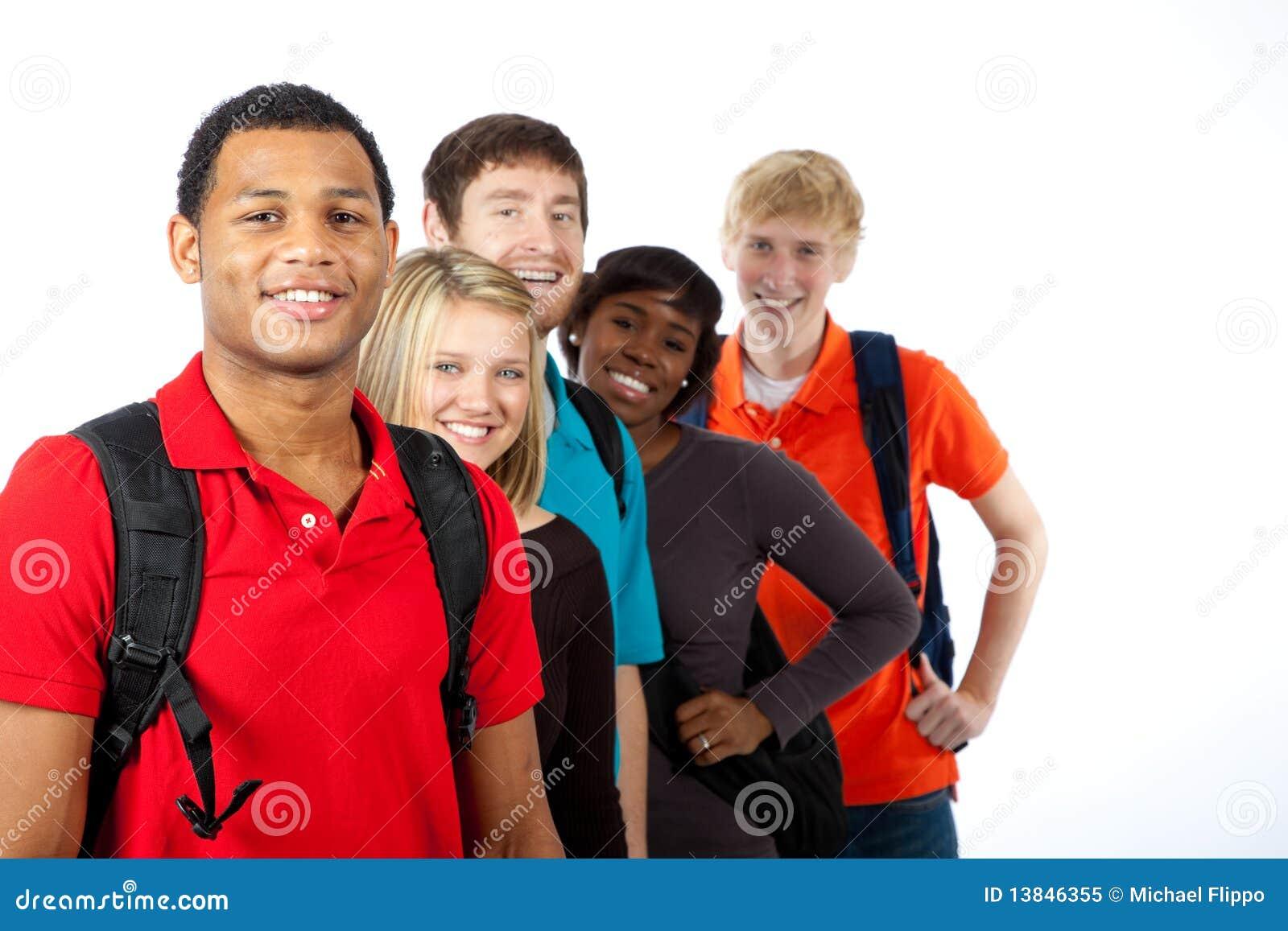 Biały wielorasowi szkoła wyższa ucznie