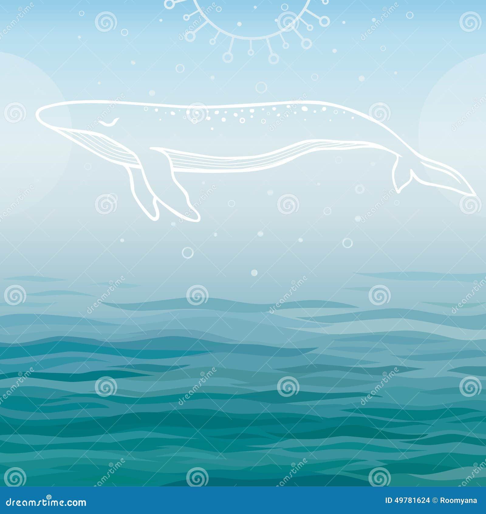 Biały wieloryb na błękitne wody