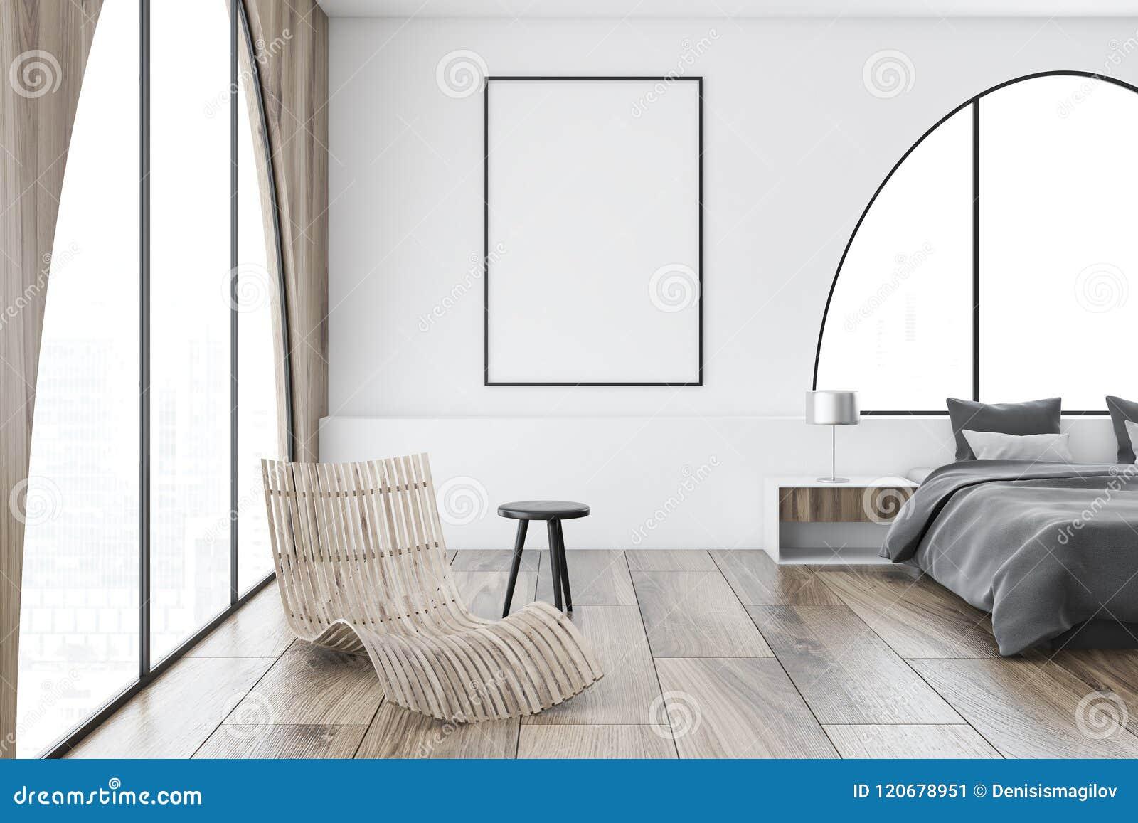 Białych łukowatych okno mistrzowska sypialnia, plakat
