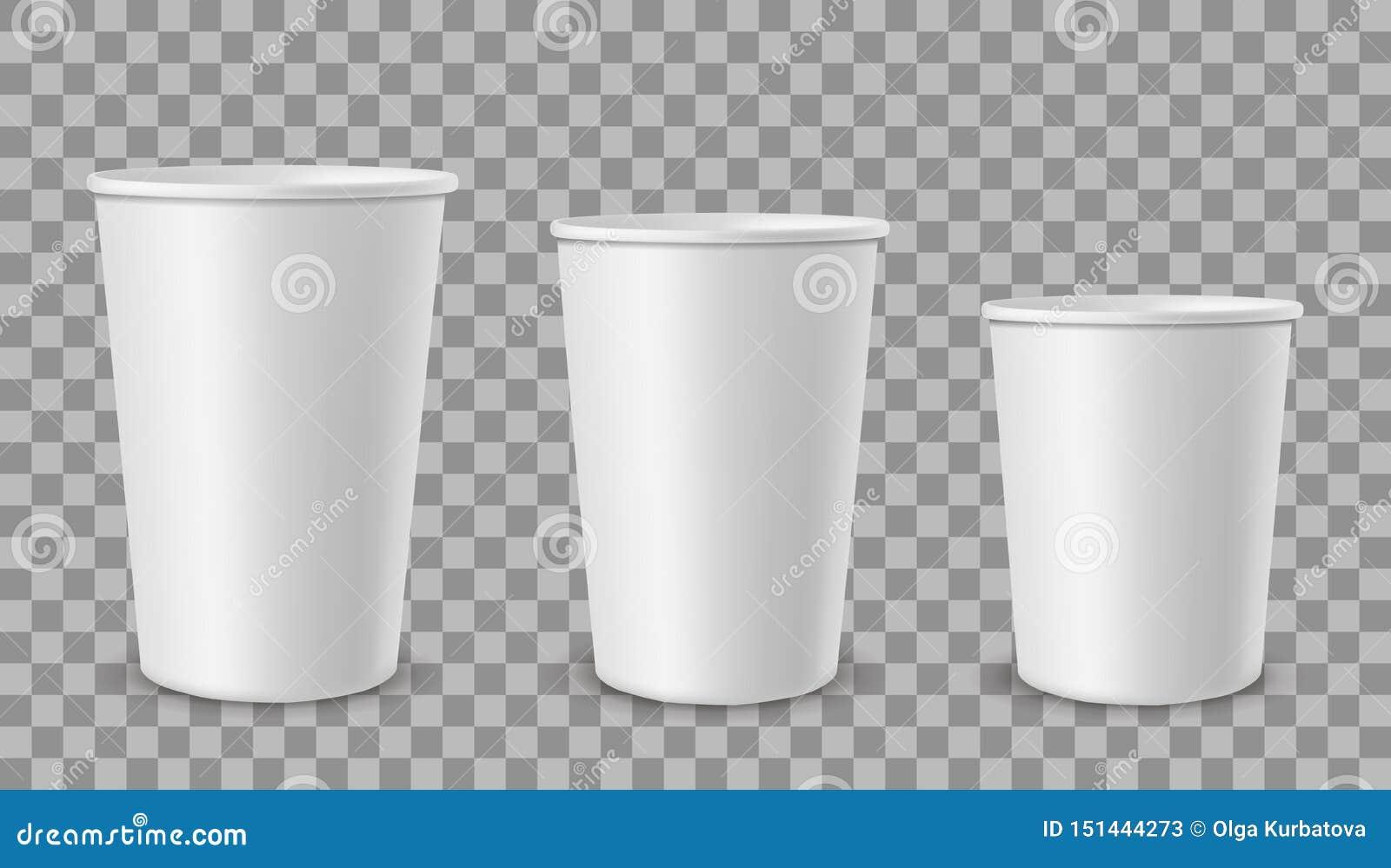 Bia?e papierowe fili?anki Filiżanka dla napojów, lemoniada soku lody kawowy herbaciany zbiornik w różnym rozmiarze Pusty 3d reali