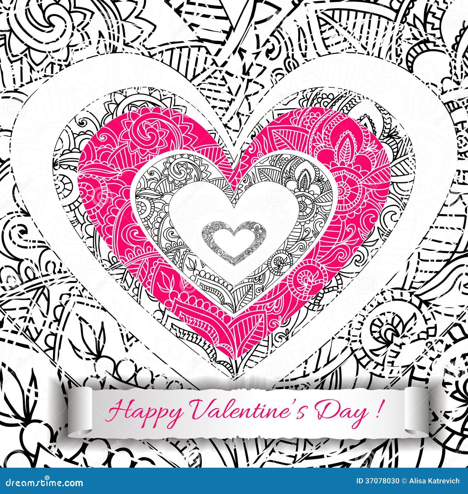 Download Białego Papieru Walentynek Dnia Kierowa Karta. Ilustracja Wektor - Ilustracja złożonej z kwiat, ornament: 37078030