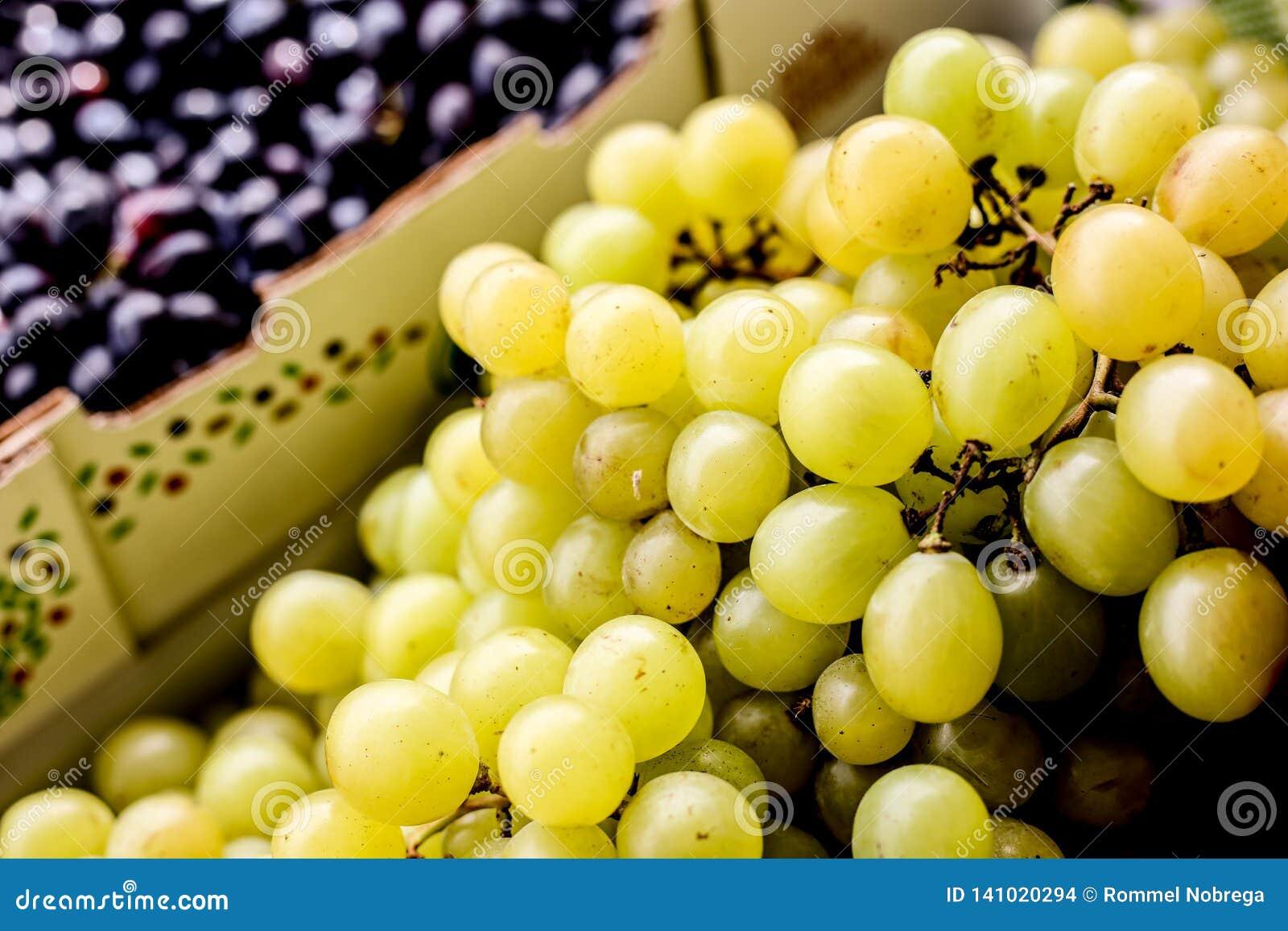 Biali świeżych winogron