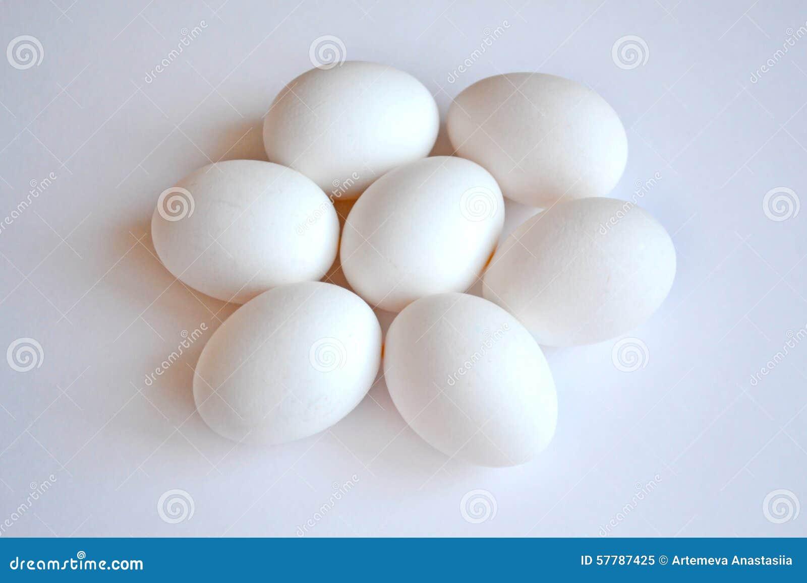 Biali jajka na Białym tle