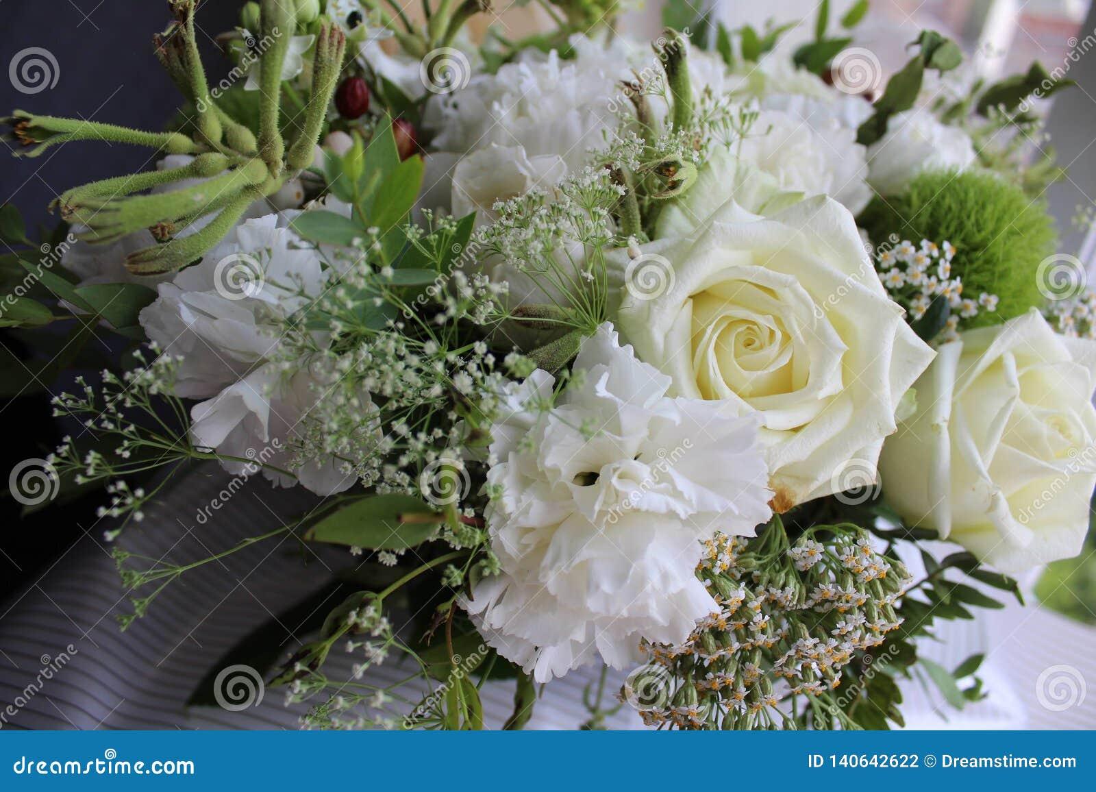 Biali kwiaty blisko okno