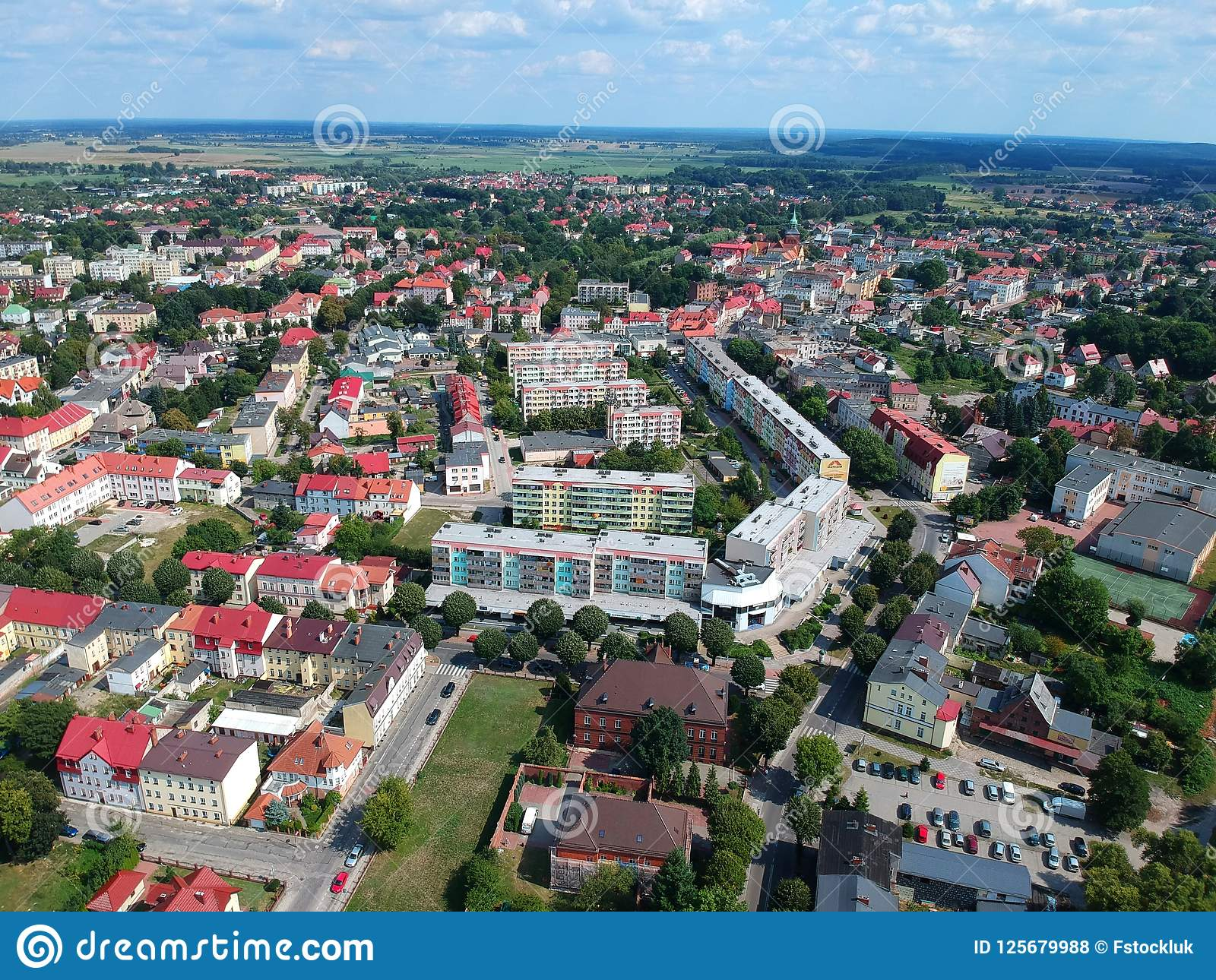 BIALOGARD, POLAND - 17 AUGUST 2018 - Aerial View On