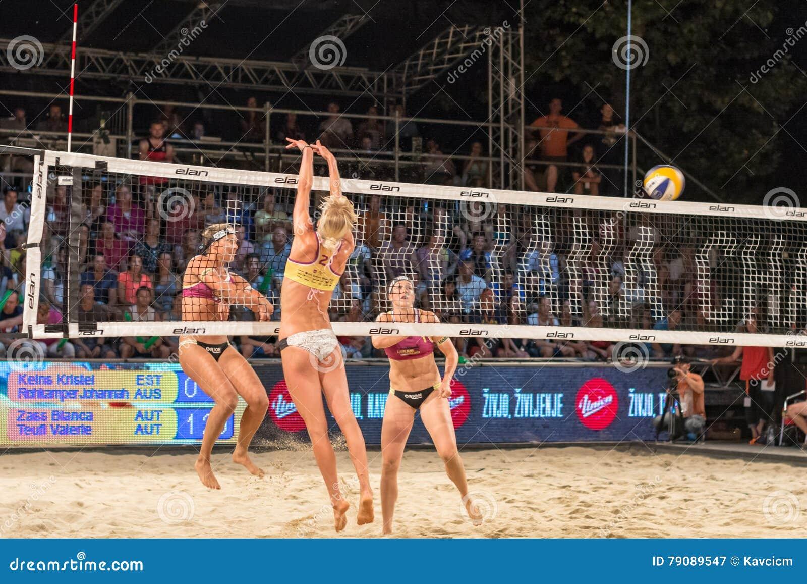 Bianca Zass osiąganie za Kristel Keins dla ostatniego punktu dopasowanie w finałach Ljubljana plaży salwy wyzwanie